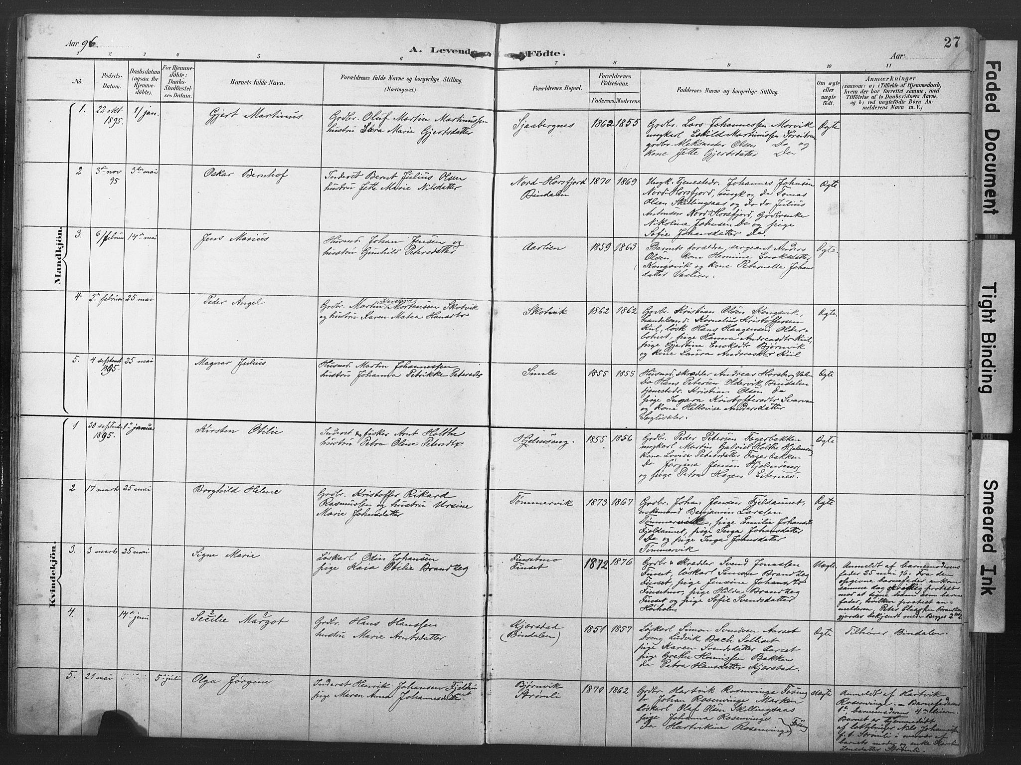 SAT, Ministerialprotokoller, klokkerbøker og fødselsregistre - Nord-Trøndelag, 789/L0706: Klokkerbok nr. 789C01, 1888-1931, s. 27