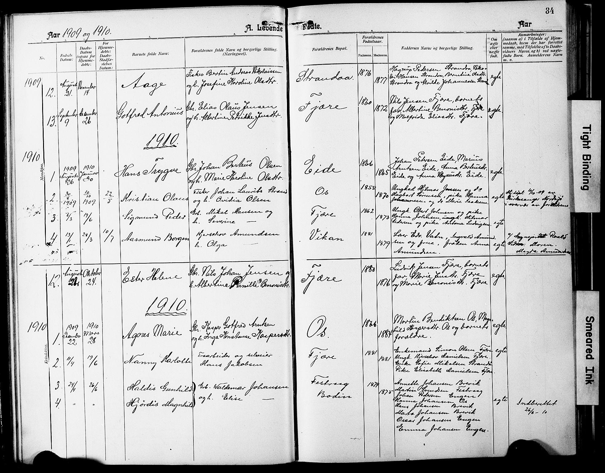 SAT, Ministerialprotokoller, klokkerbøker og fødselsregistre - Nordland, 803/L0077: Klokkerbok nr. 803C04, 1897-1930, s. 34