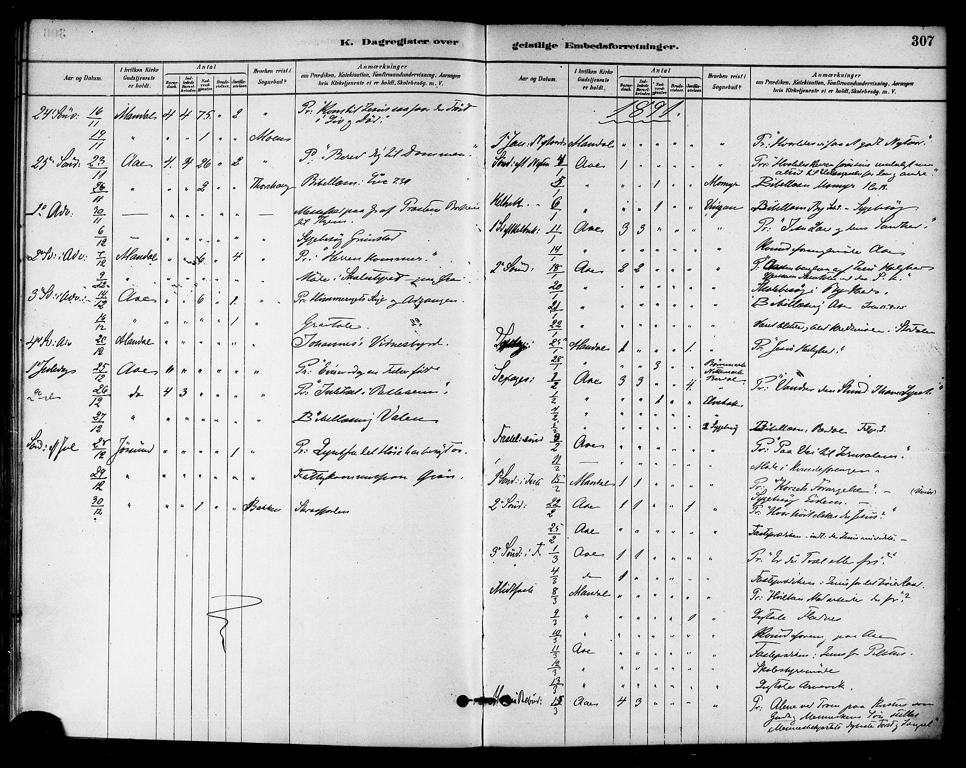 SAT, Ministerialprotokoller, klokkerbøker og fødselsregistre - Sør-Trøndelag, 655/L0680: Ministerialbok nr. 655A09, 1880-1894, s. 307