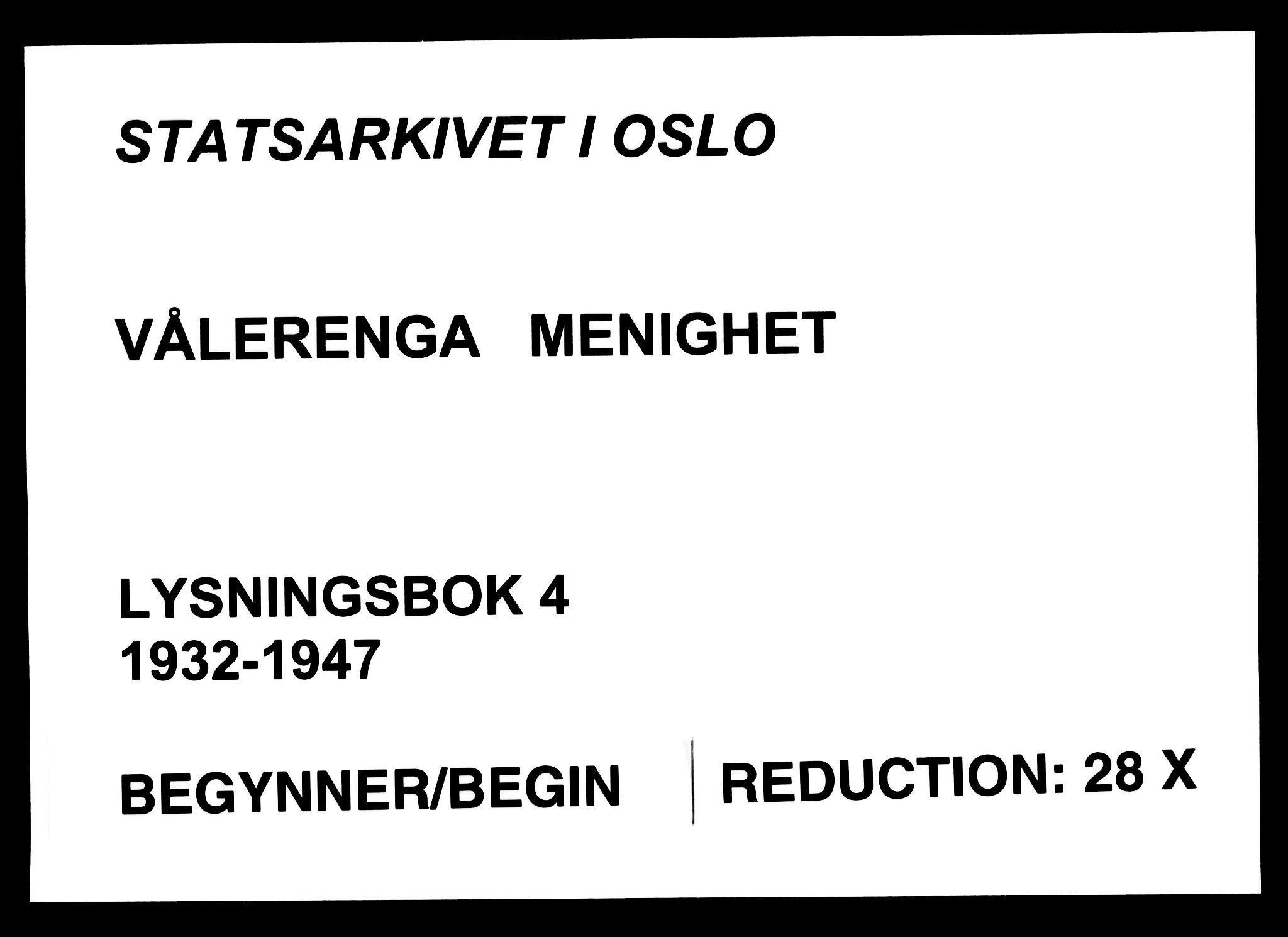 SAO, Vålerengen prestekontor Kirkebøker, H/Ha/L0004: Lysningsprotokoll nr. 4, 1932-1947