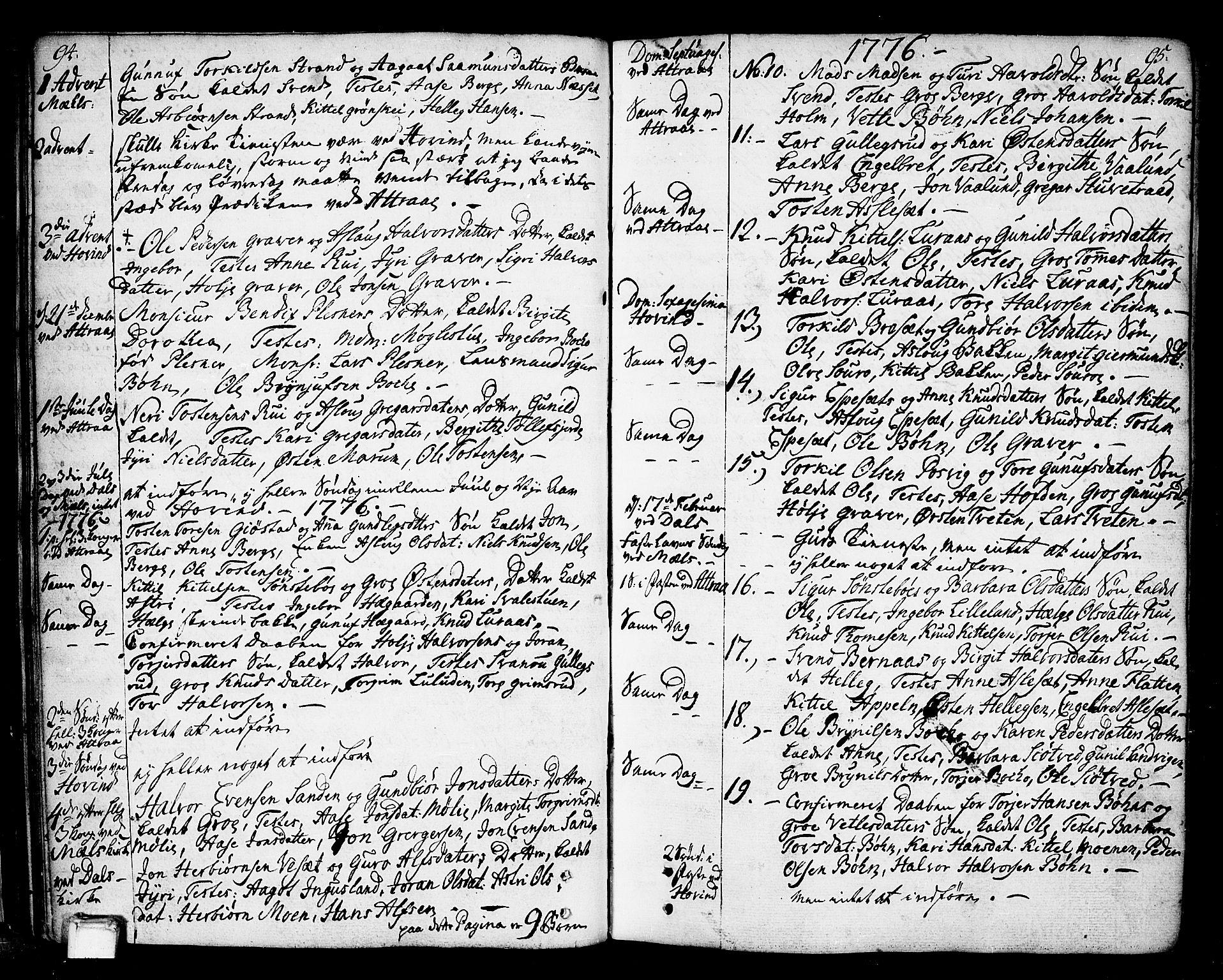 SAKO, Tinn kirkebøker, F/Fa/L0002: Ministerialbok nr. I 2, 1757-1810, s. 94-95