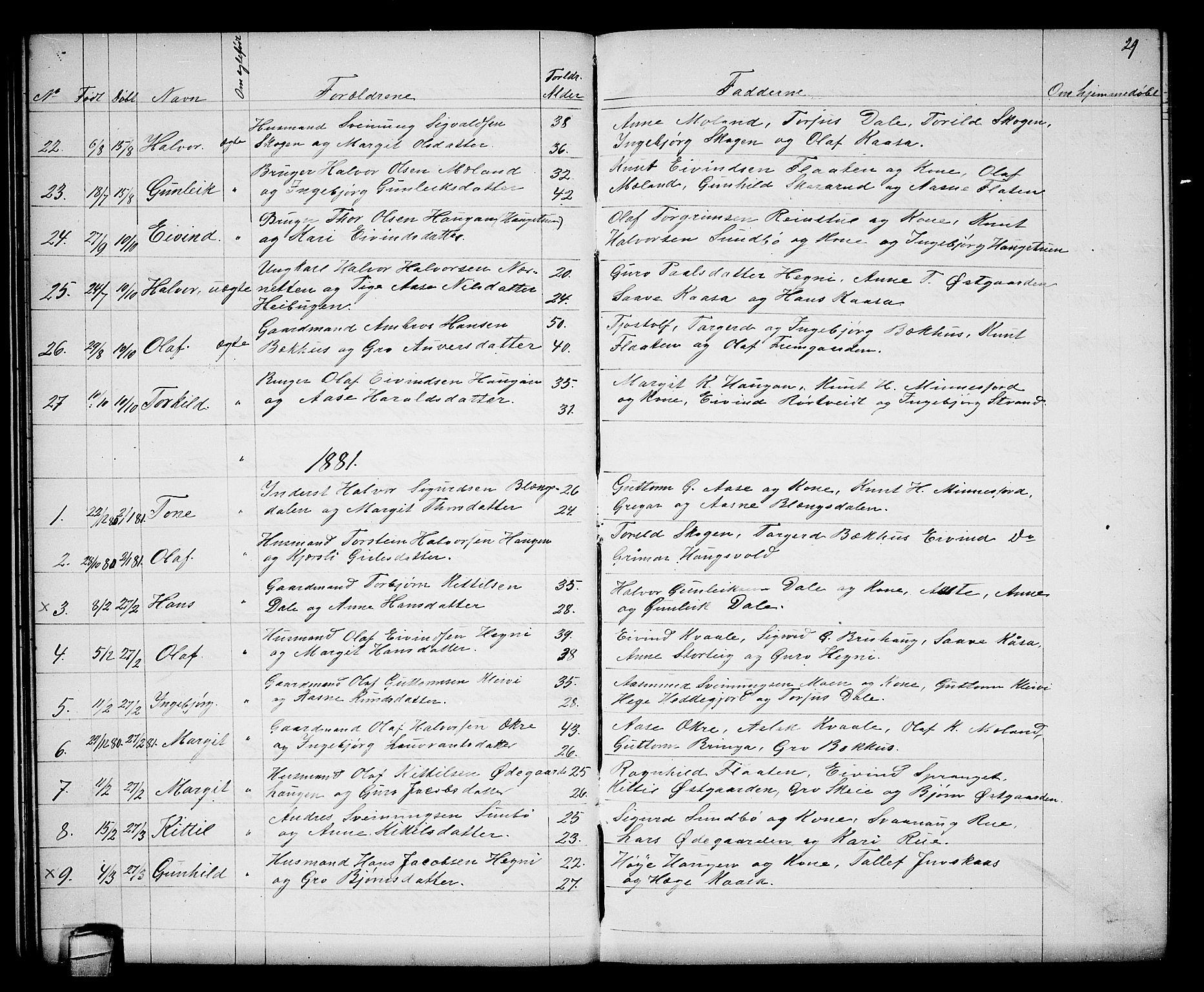 SAKO, Seljord kirkebøker, G/Gb/L0003: Klokkerbok nr. II 3, 1863-1884, s. 29