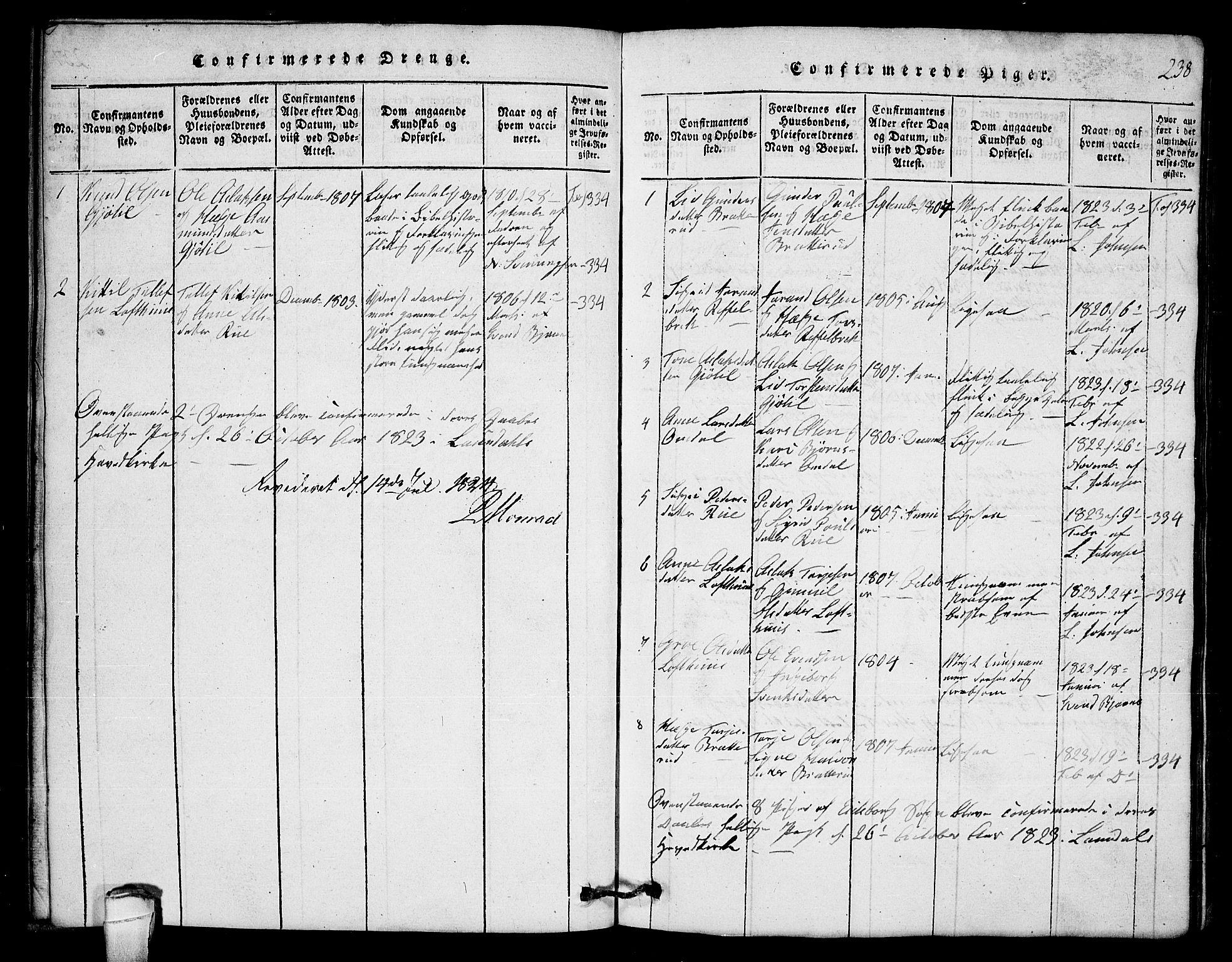 SAKO, Lårdal kirkebøker, G/Gb/L0001: Klokkerbok nr. II 1, 1815-1865, s. 238