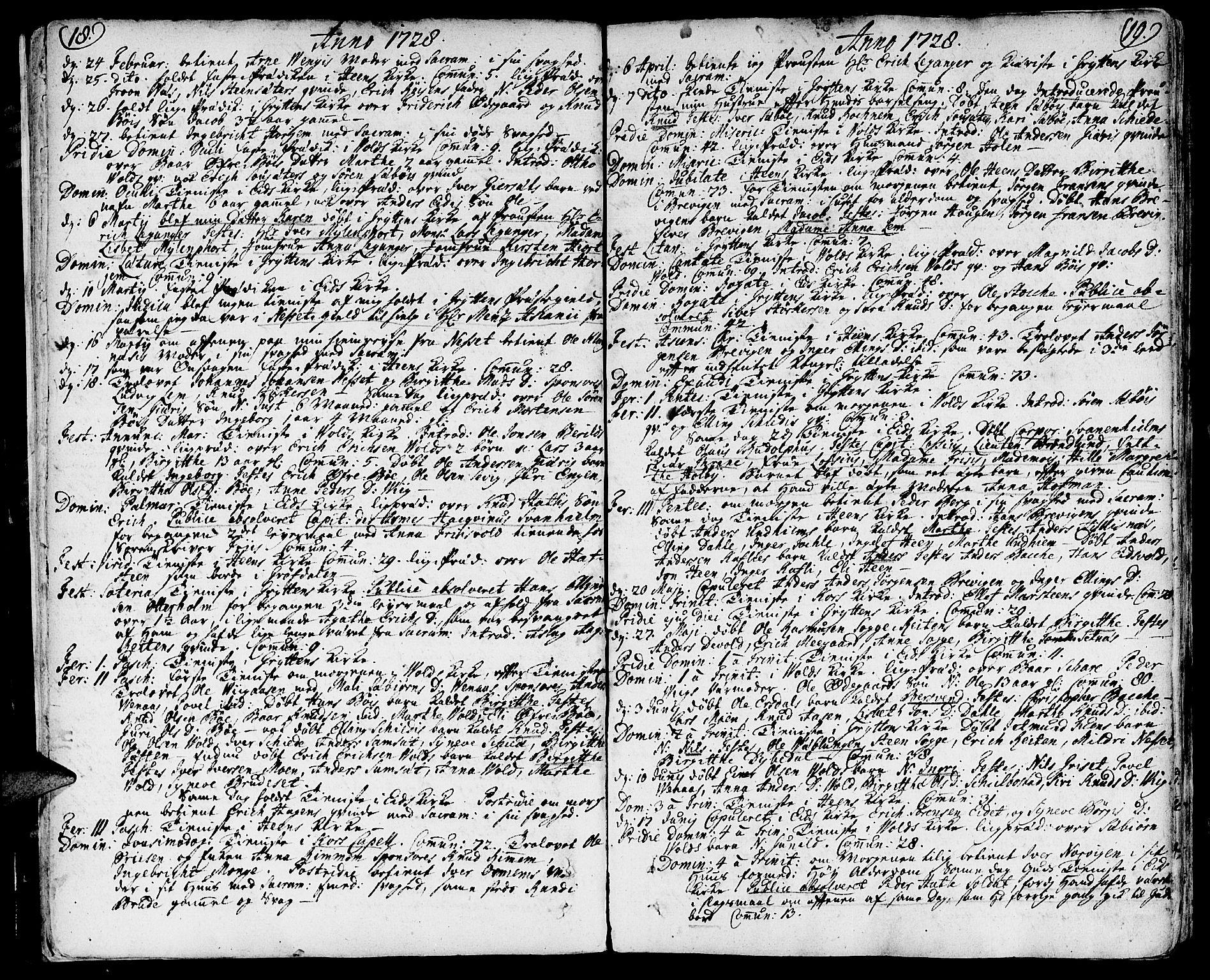 SAT, Ministerialprotokoller, klokkerbøker og fødselsregistre - Møre og Romsdal, 544/L0568: Ministerialbok nr. 544A01, 1725-1763, s. 18-19