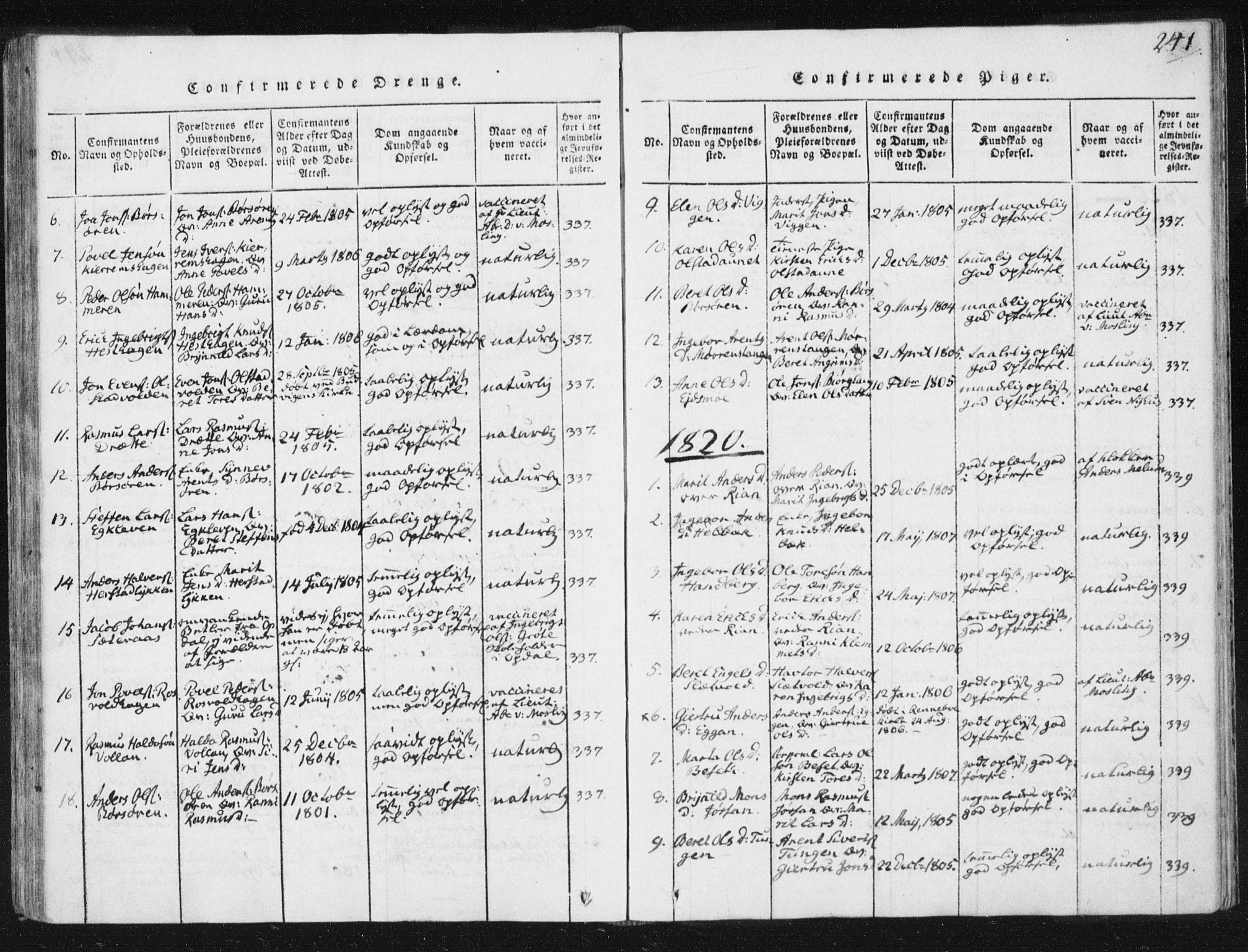 SAT, Ministerialprotokoller, klokkerbøker og fødselsregistre - Sør-Trøndelag, 665/L0770: Ministerialbok nr. 665A05, 1817-1829, s. 241