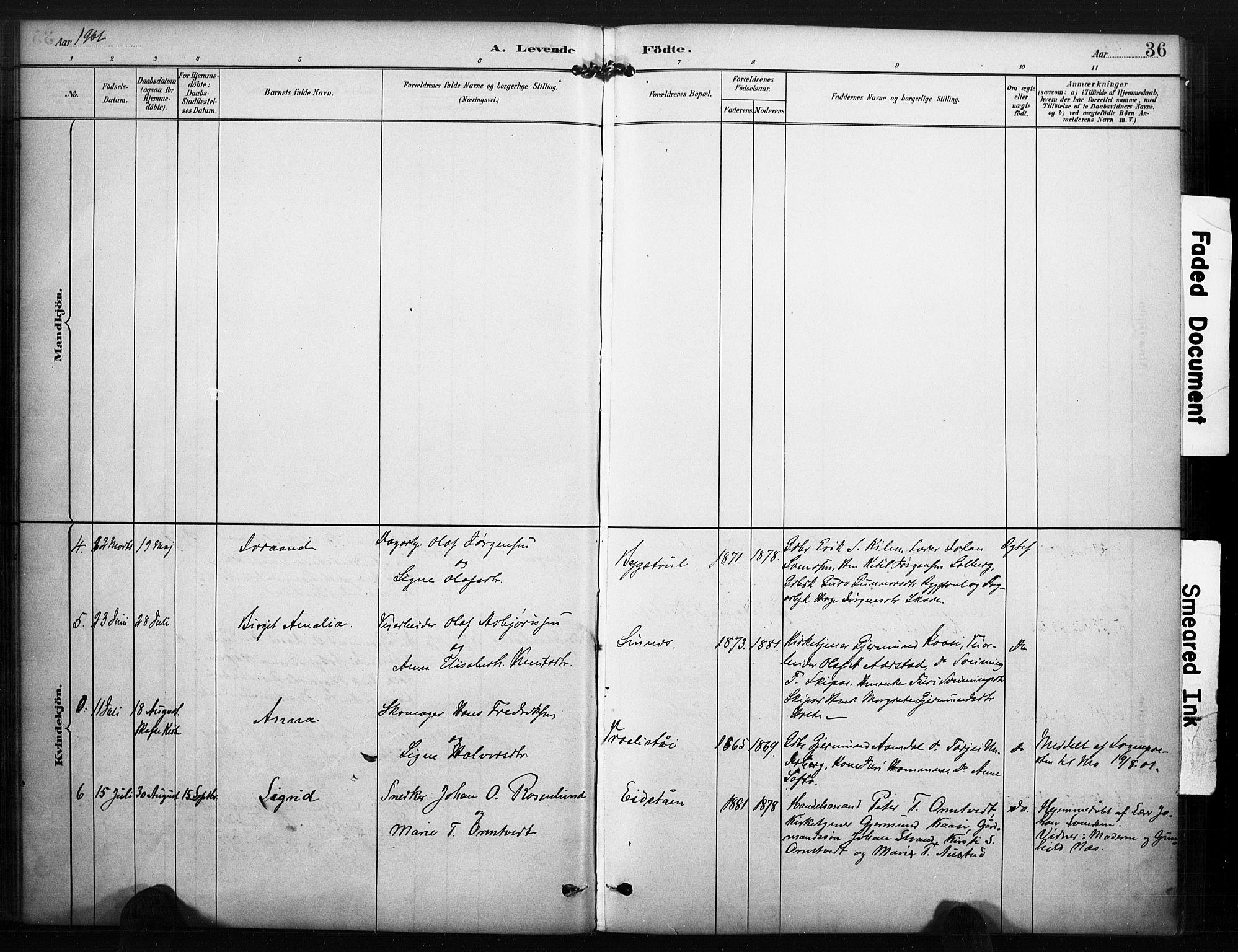 SAKO, Kviteseid kirkebøker, F/Fc/L0002: Ministerialbok nr. III 2, 1882-1908, s. 36