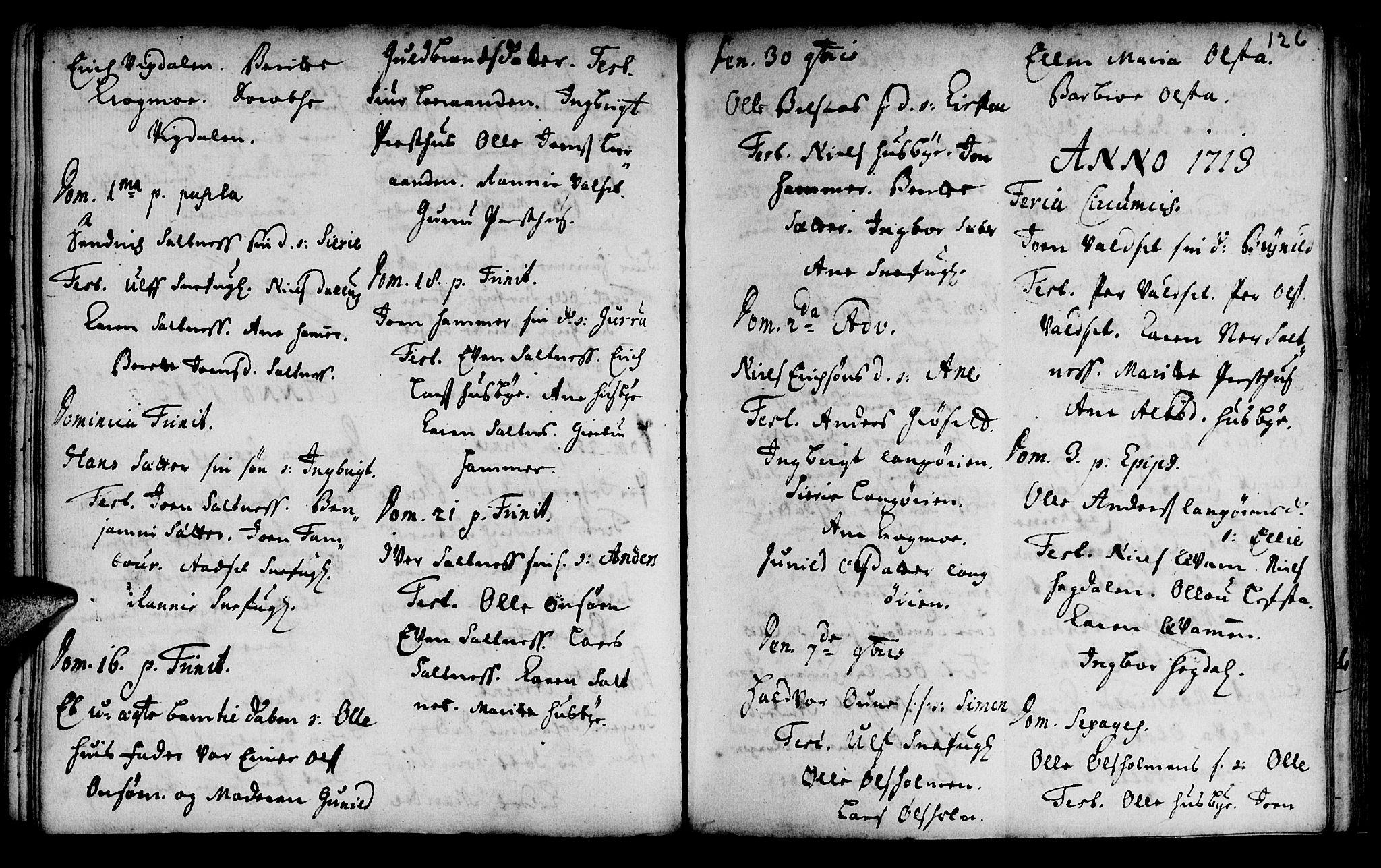 SAT, Ministerialprotokoller, klokkerbøker og fødselsregistre - Sør-Trøndelag, 666/L0783: Ministerialbok nr. 666A01, 1702-1753, s. 126a