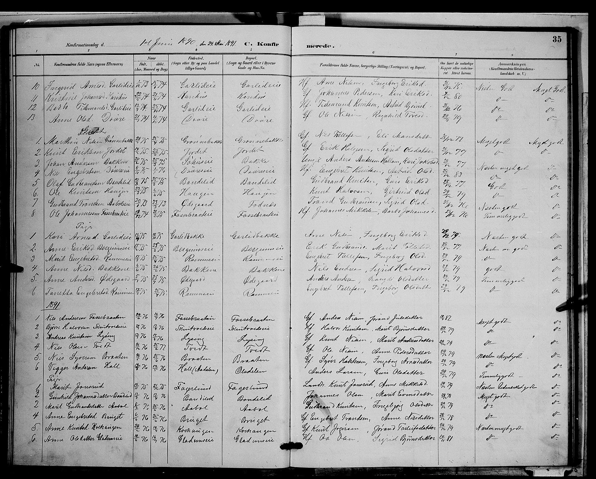 SAH, Nord-Aurdal prestekontor, Klokkerbok nr. 9, 1887-1897, s. 35