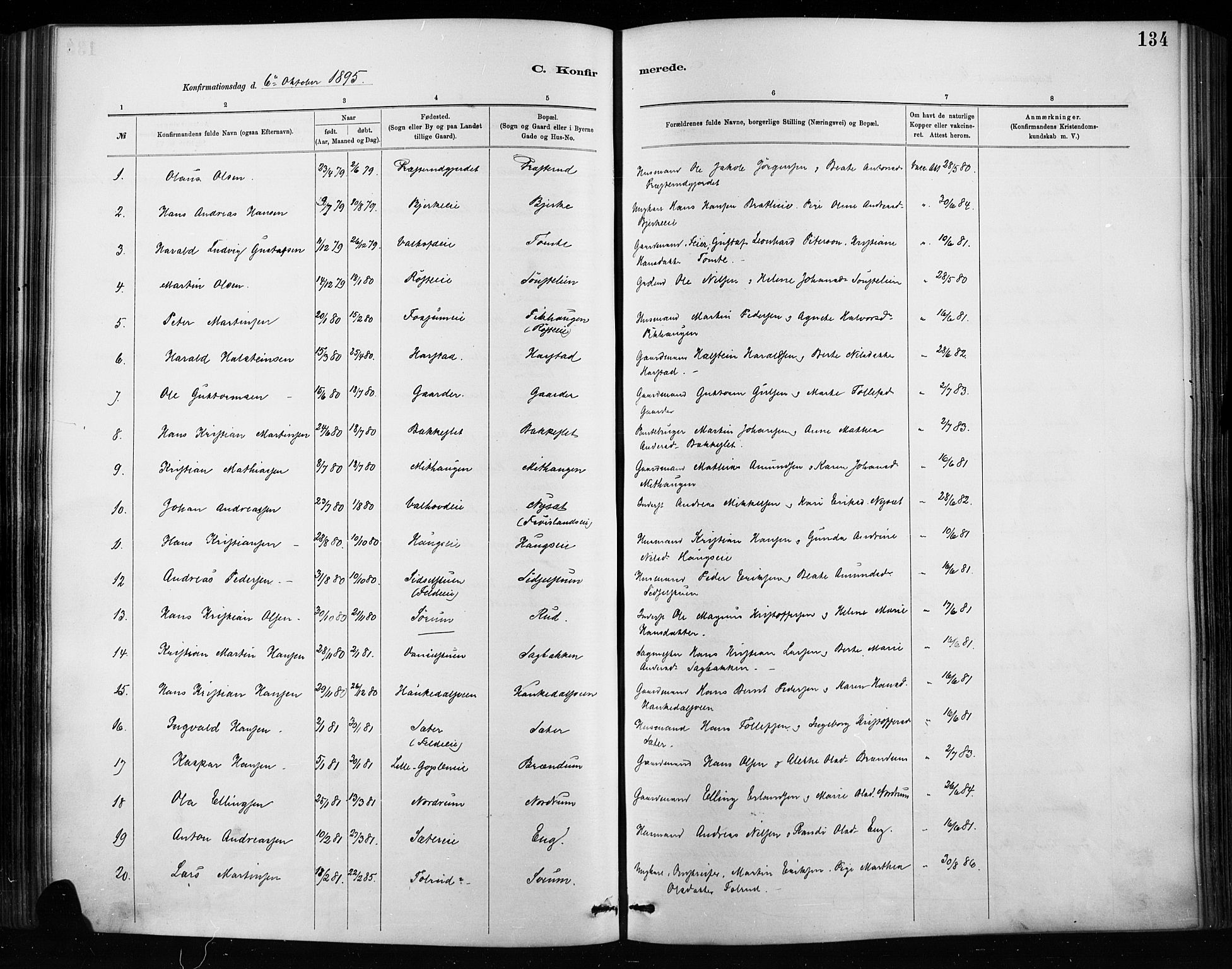 SAH, Nordre Land prestekontor, Ministerialbok nr. 4, 1882-1896, s. 134
