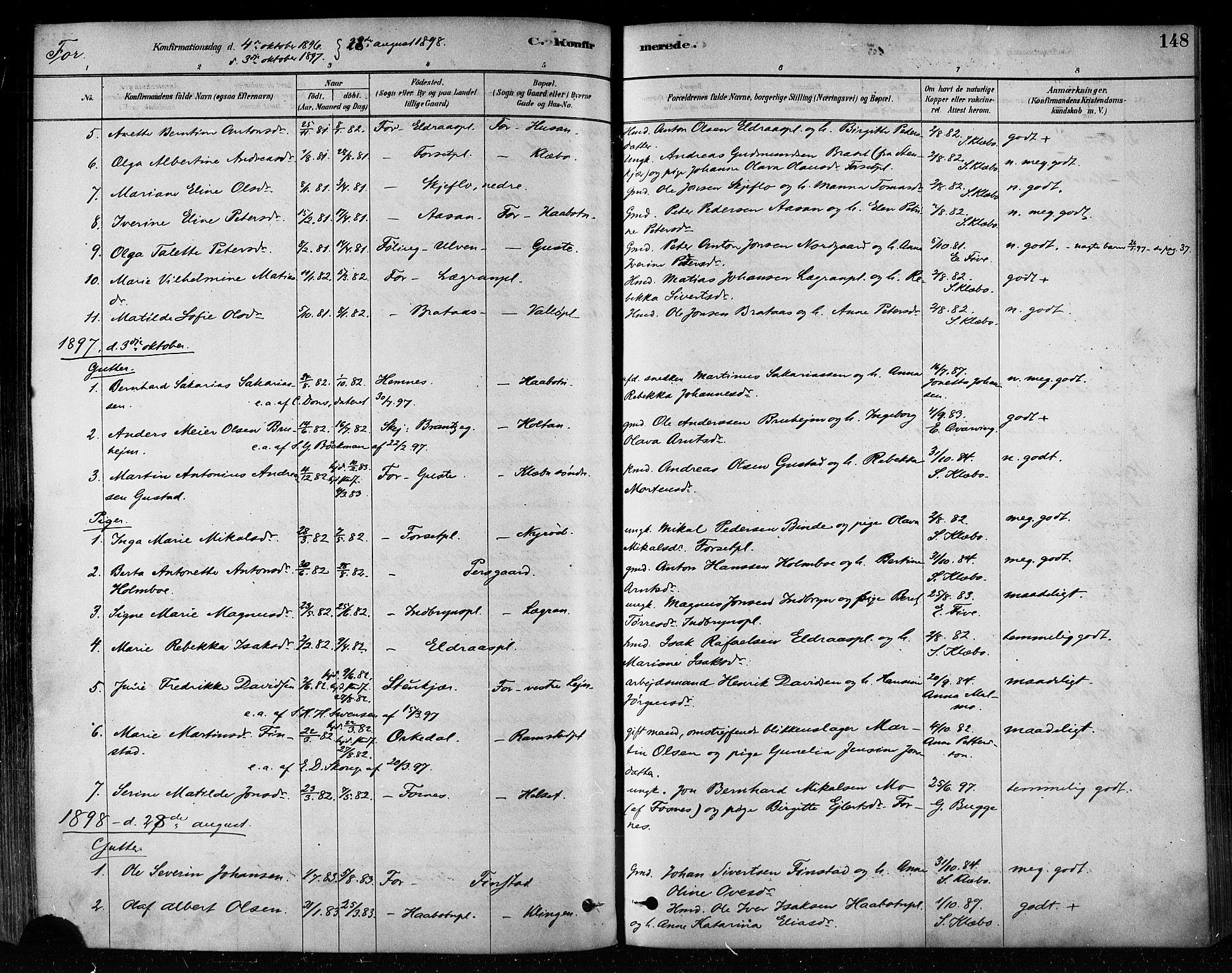 SAT, Ministerialprotokoller, klokkerbøker og fødselsregistre - Nord-Trøndelag, 746/L0448: Ministerialbok nr. 746A07 /1, 1878-1900, s. 148