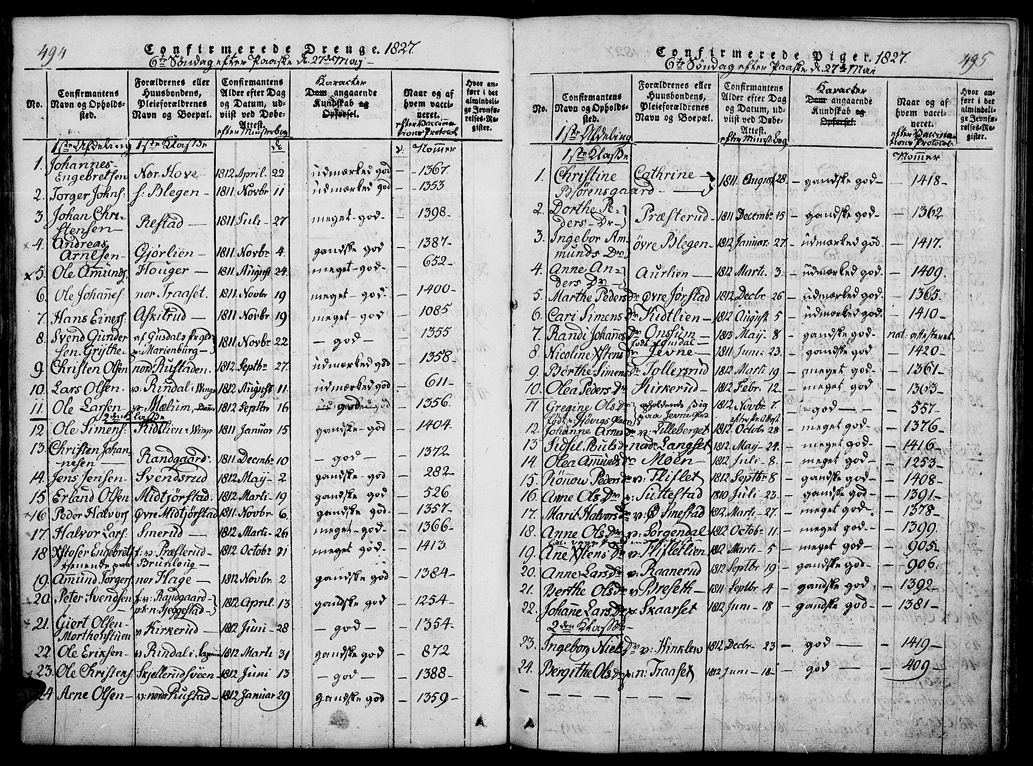 SAH, Fåberg prestekontor, Ministerialbok nr. 3, 1818-1833, s. 494-495