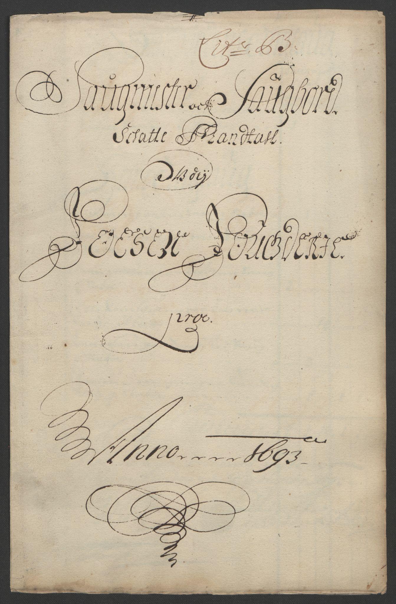 RA, Rentekammeret inntil 1814, Reviderte regnskaper, Fogderegnskap, R57/L3849: Fogderegnskap Fosen, 1692-1693, s. 438