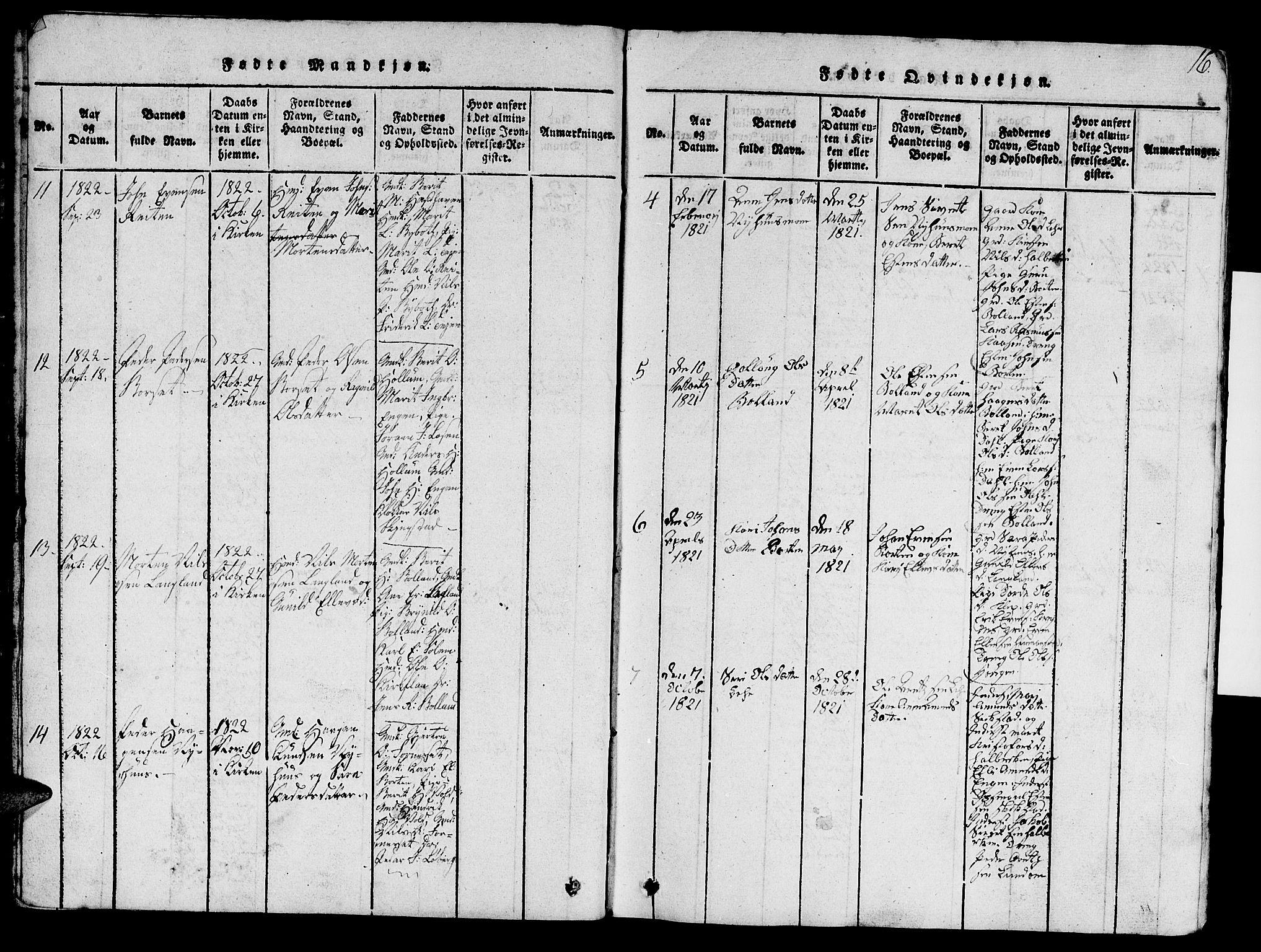 SAT, Ministerialprotokoller, klokkerbøker og fødselsregistre - Sør-Trøndelag, 693/L1121: Klokkerbok nr. 693C02, 1816-1869, s. 16