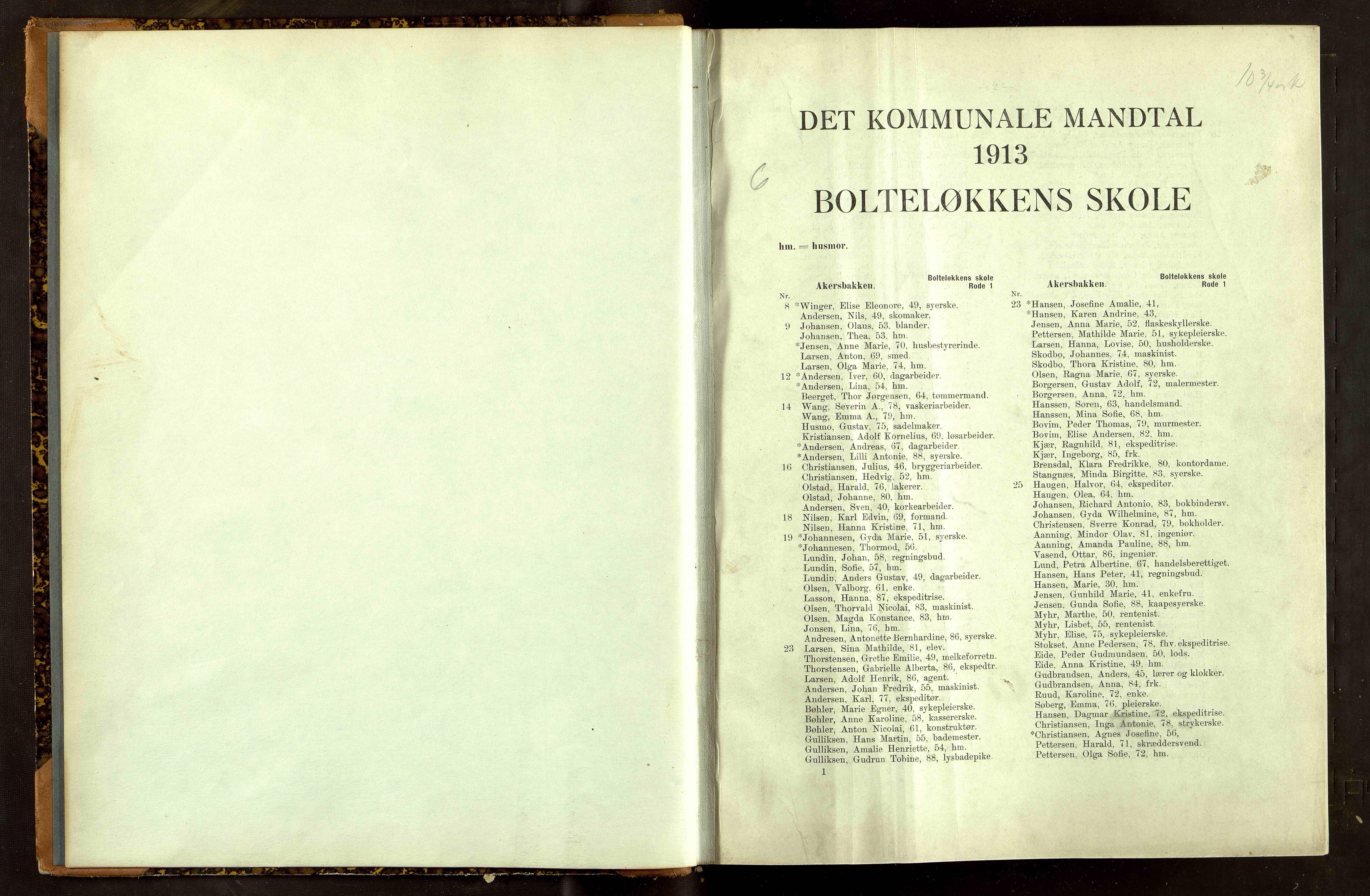 OBA, Folkeregisteret ( Valgstyret ), 1913, s. 1