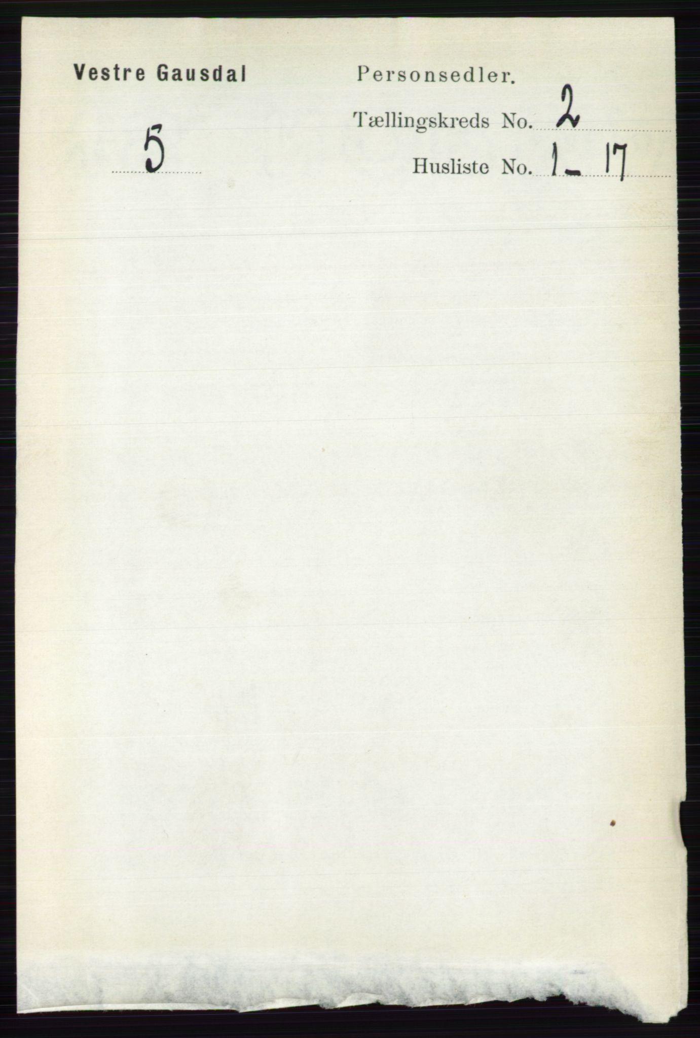RA, Folketelling 1891 for 0523 Vestre Gausdal herred, 1891, s. 508