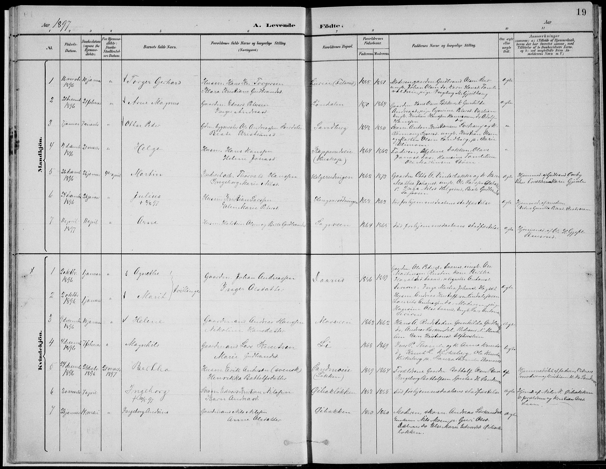 SAH, Nordre Land prestekontor, Klokkerbok nr. 13, 1891-1904, s. 19