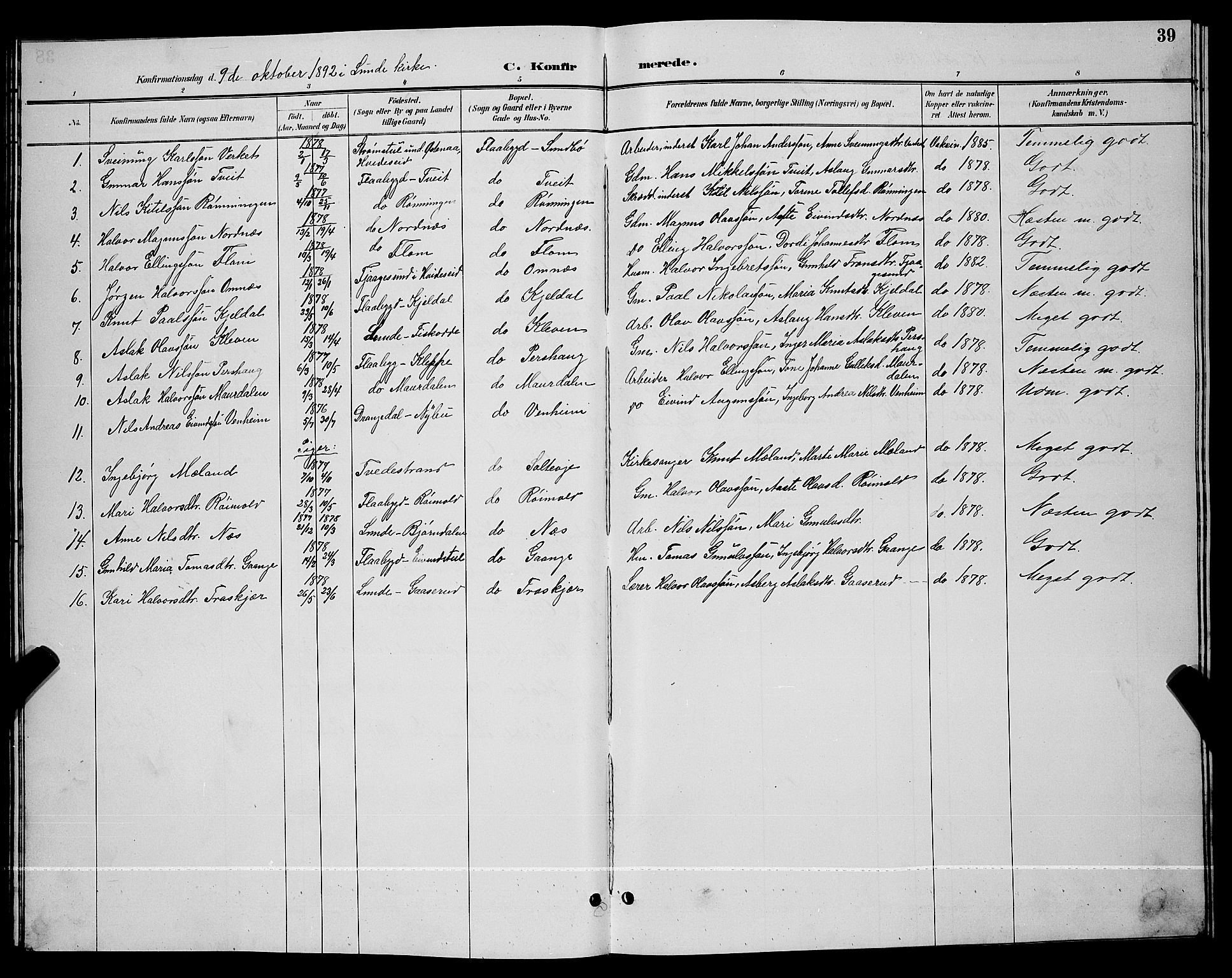 SAKO, Lunde kirkebøker, G/Gb/L0002: Klokkerbok nr. II 2, 1888-1895, s. 39