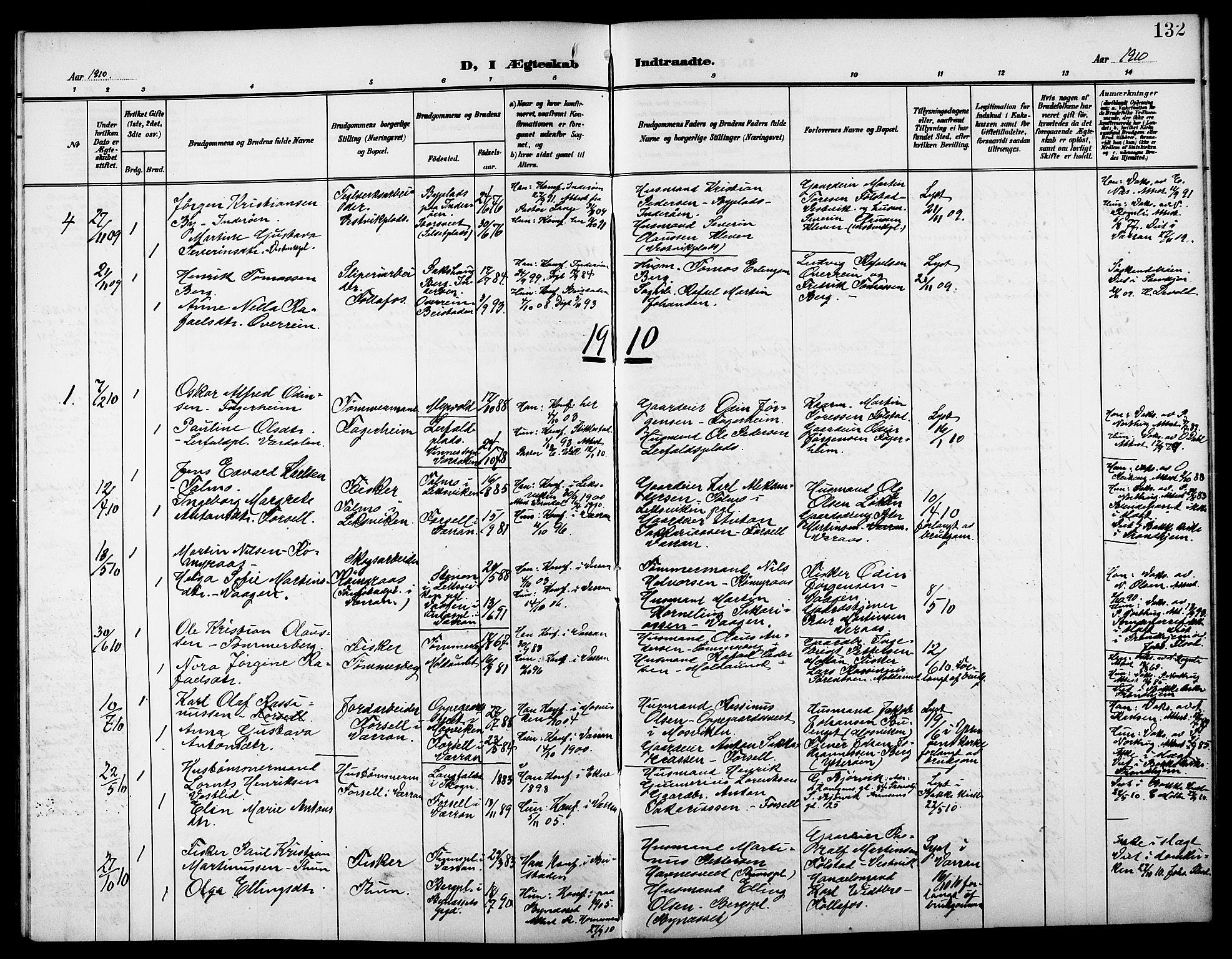SAT, Ministerialprotokoller, klokkerbøker og fødselsregistre - Nord-Trøndelag, 744/L0424: Klokkerbok nr. 744C03, 1906-1923, s. 132