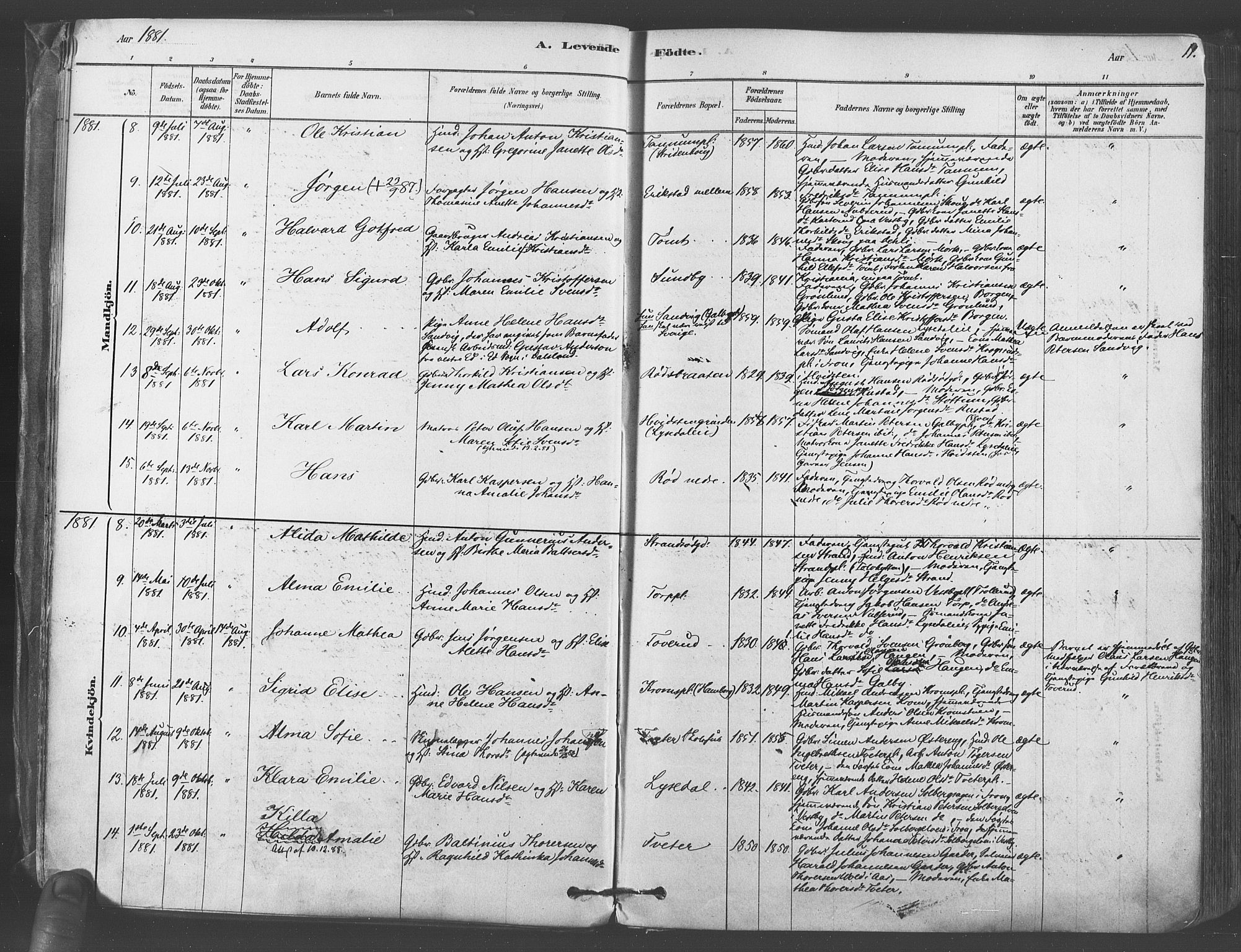 SAO, Vestby prestekontor Kirkebøker, F/Fa/L0009: Ministerialbok nr. I 9, 1878-1900, s. 11