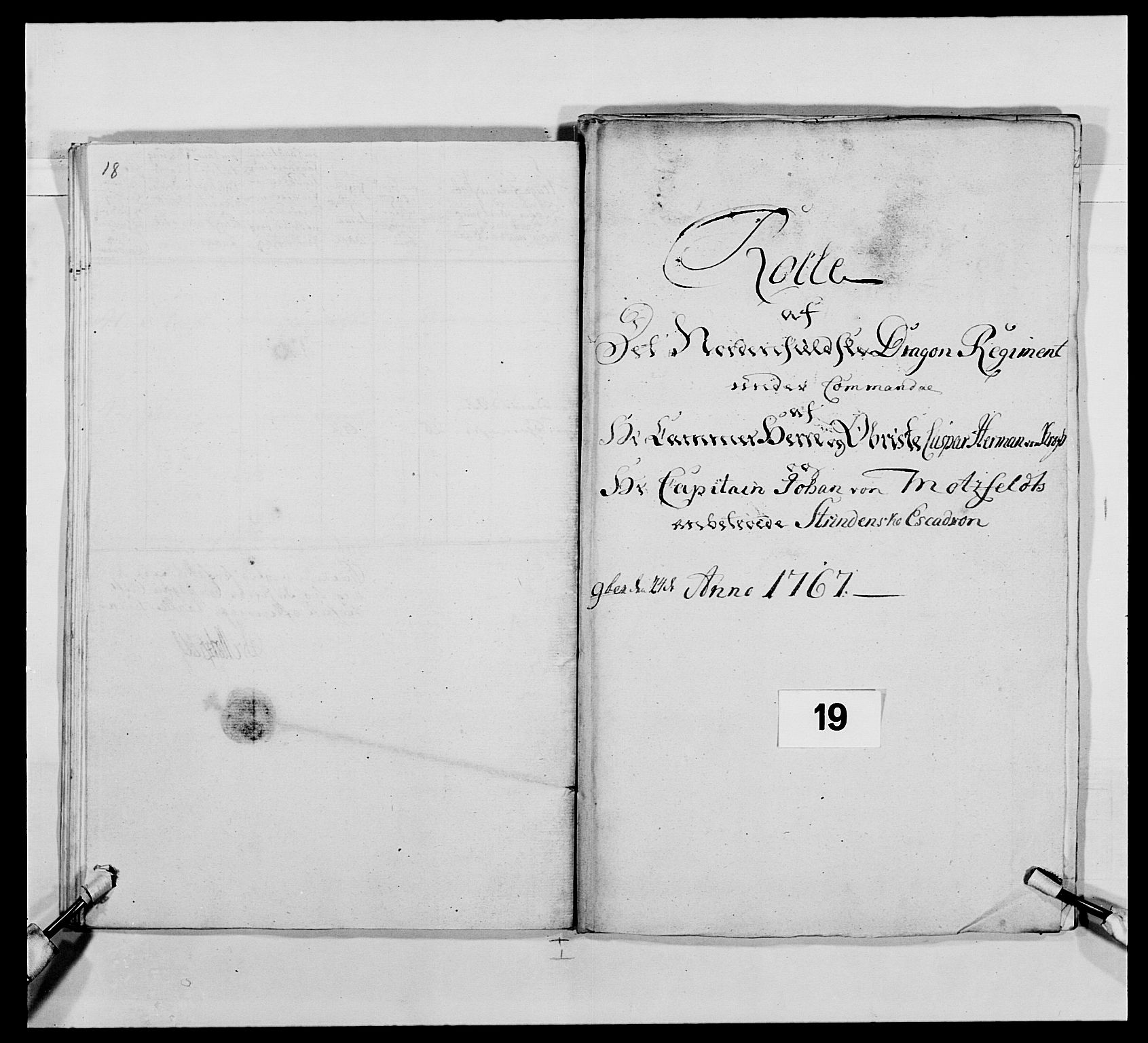RA, Kommanderende general (KG I) med Det norske krigsdirektorium, E/Ea/L0483: Nordafjelske dragonregiment, 1765-1767, s. 453