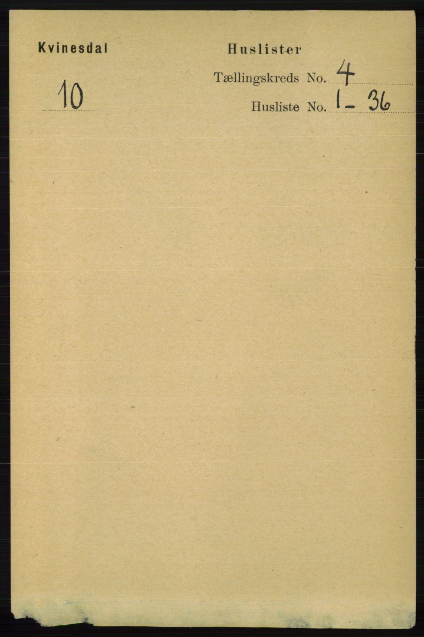 RA, Folketelling 1891 for 1037 Kvinesdal herred, 1891, s. 1393