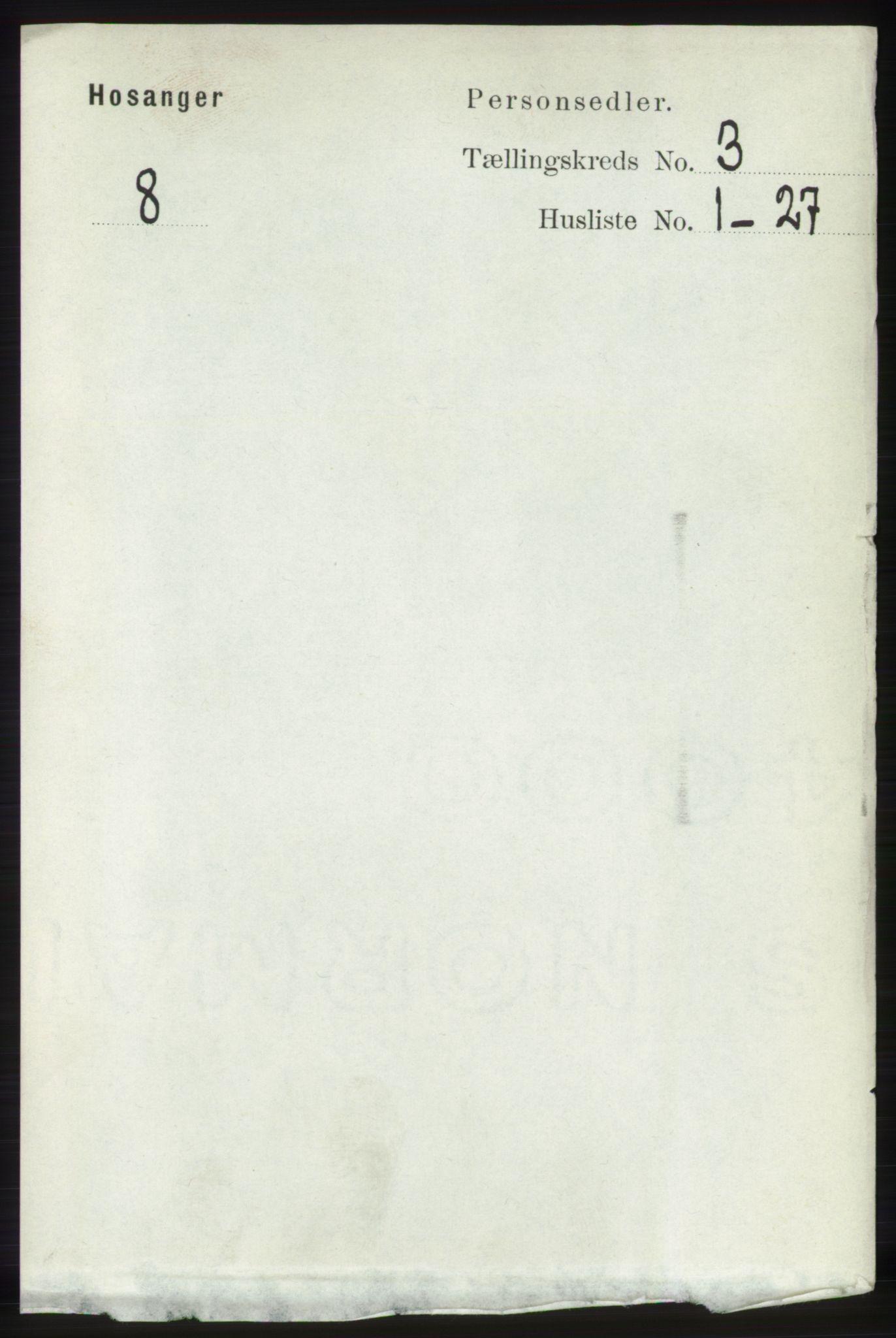 RA, Folketelling 1891 for 1253 Hosanger herred, 1891, s. 1017