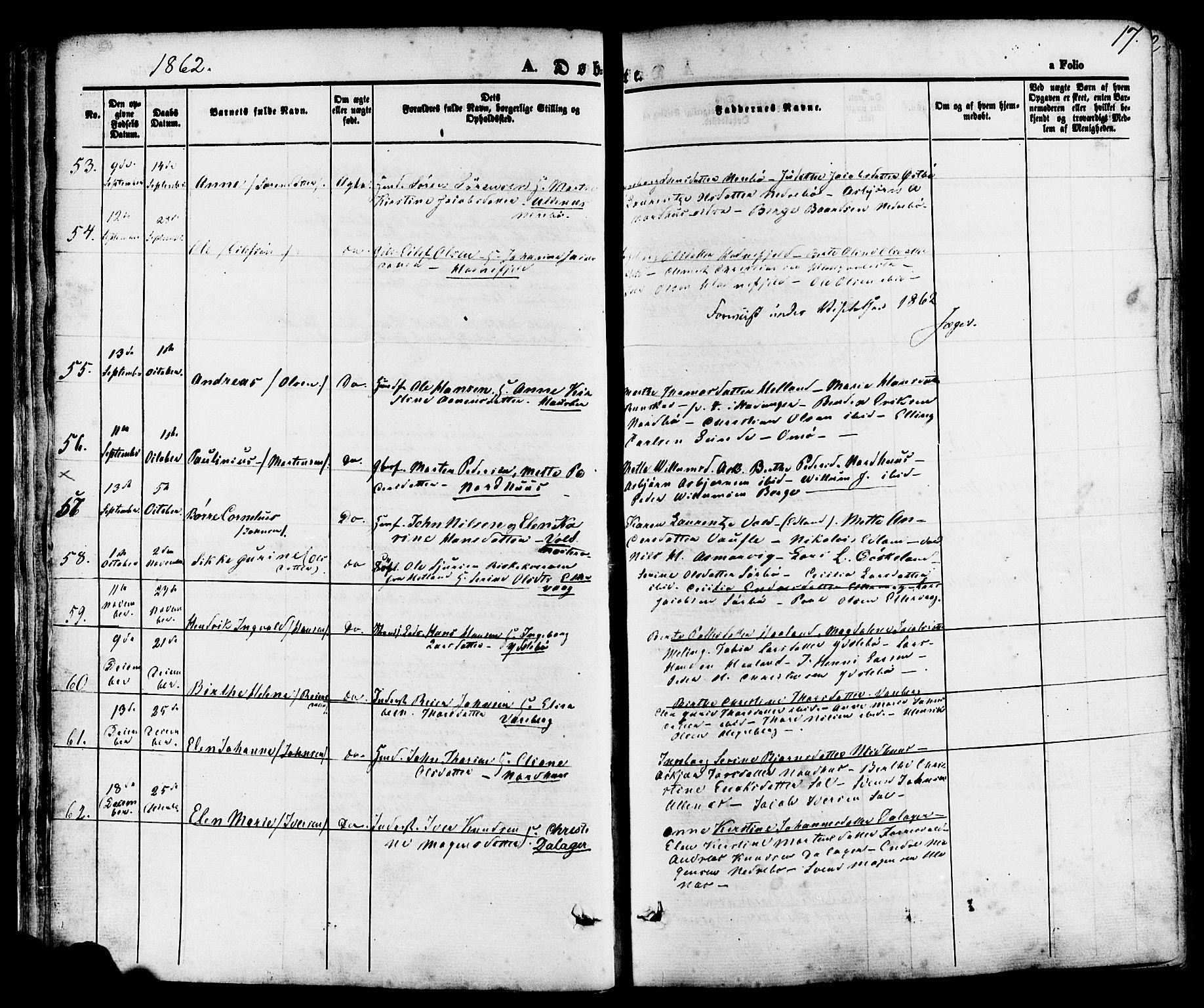 SAST, Rennesøy sokneprestkontor, H/Ha/Haa/L0006: Ministerialbok nr. A 6, 1860-1878, s. 17