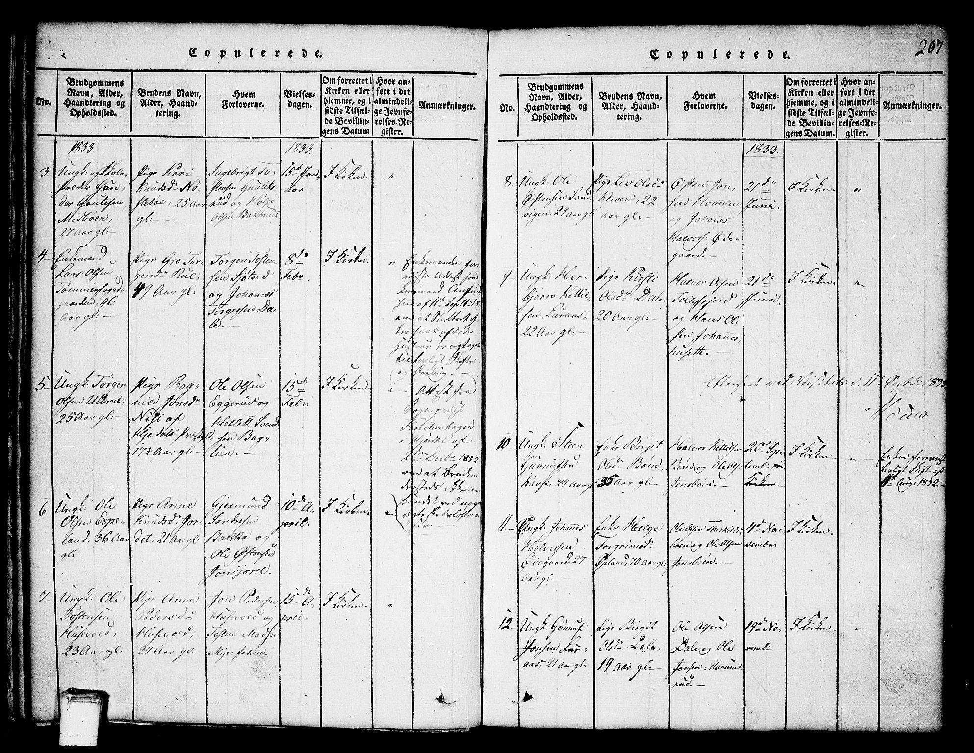 SAKO, Tinn kirkebøker, G/Ga/L0001: Klokkerbok nr. I 1, 1815-1850, s. 207