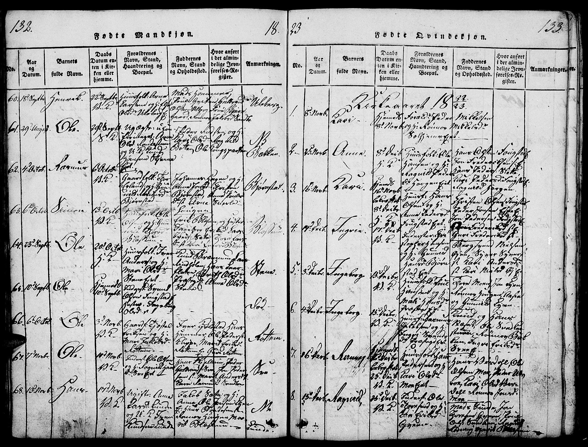 SAH, Vågå prestekontor, Ministerialbok nr. 3, 1815-1827, s. 132-133