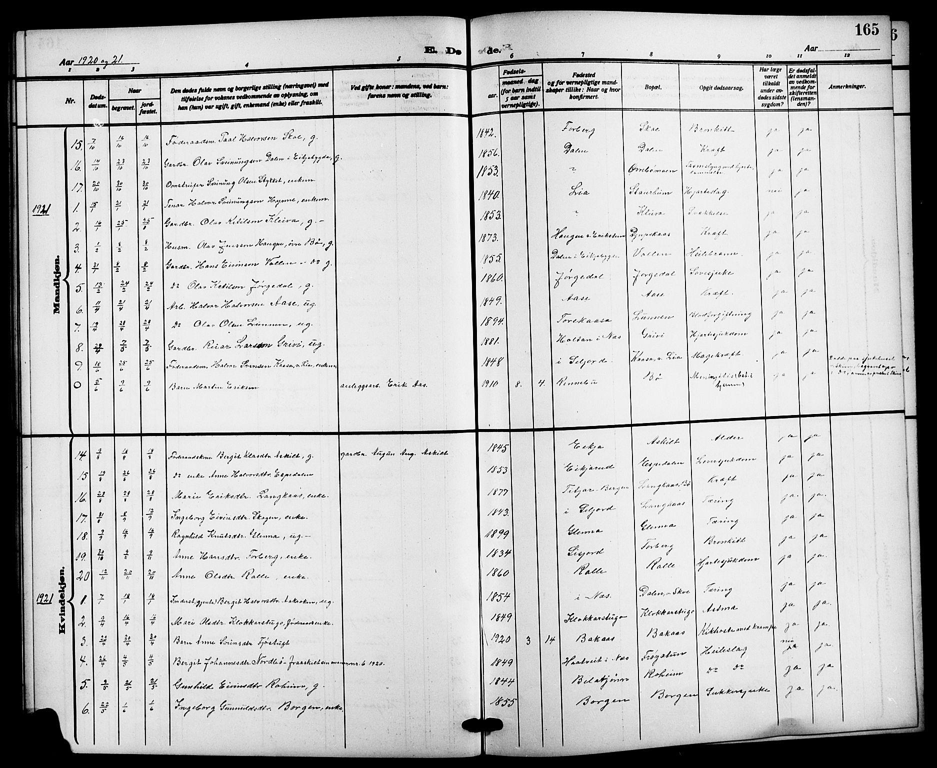SAKO, Bø kirkebøker, G/Ga/L0007: Klokkerbok nr. 7, 1909-1924, s. 165