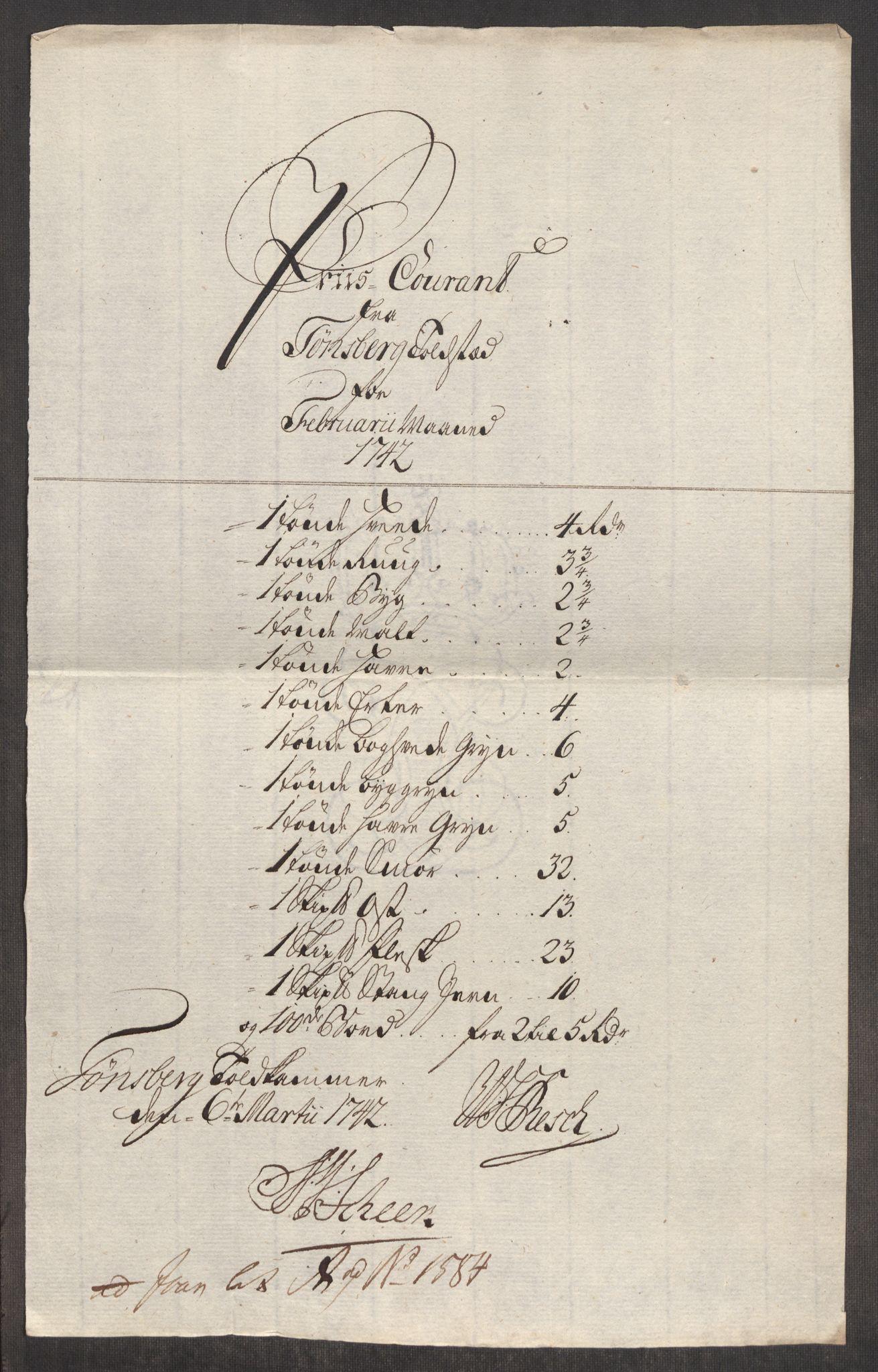 RA, Rentekammeret inntil 1814, Realistisk ordnet avdeling, Oe/L0002: [Ø1]: Priskuranter, 1740-1744, s. 489