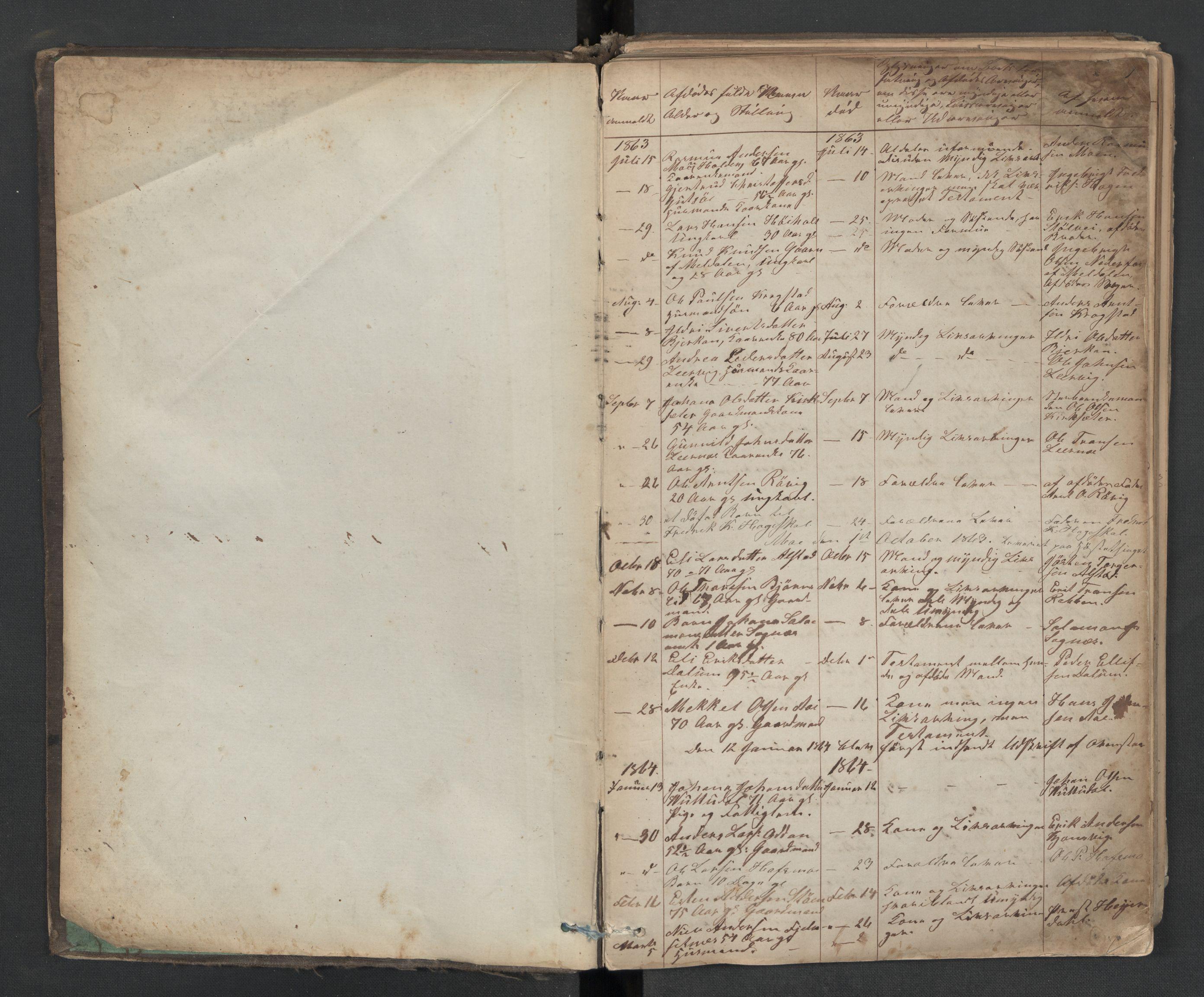 SAT, Hemne og Snillfjord lensmannskontor, 02/L0001: 2.01.01 Dødsfallsanmeldelsesprotokoll, 1863-1917, s. 1