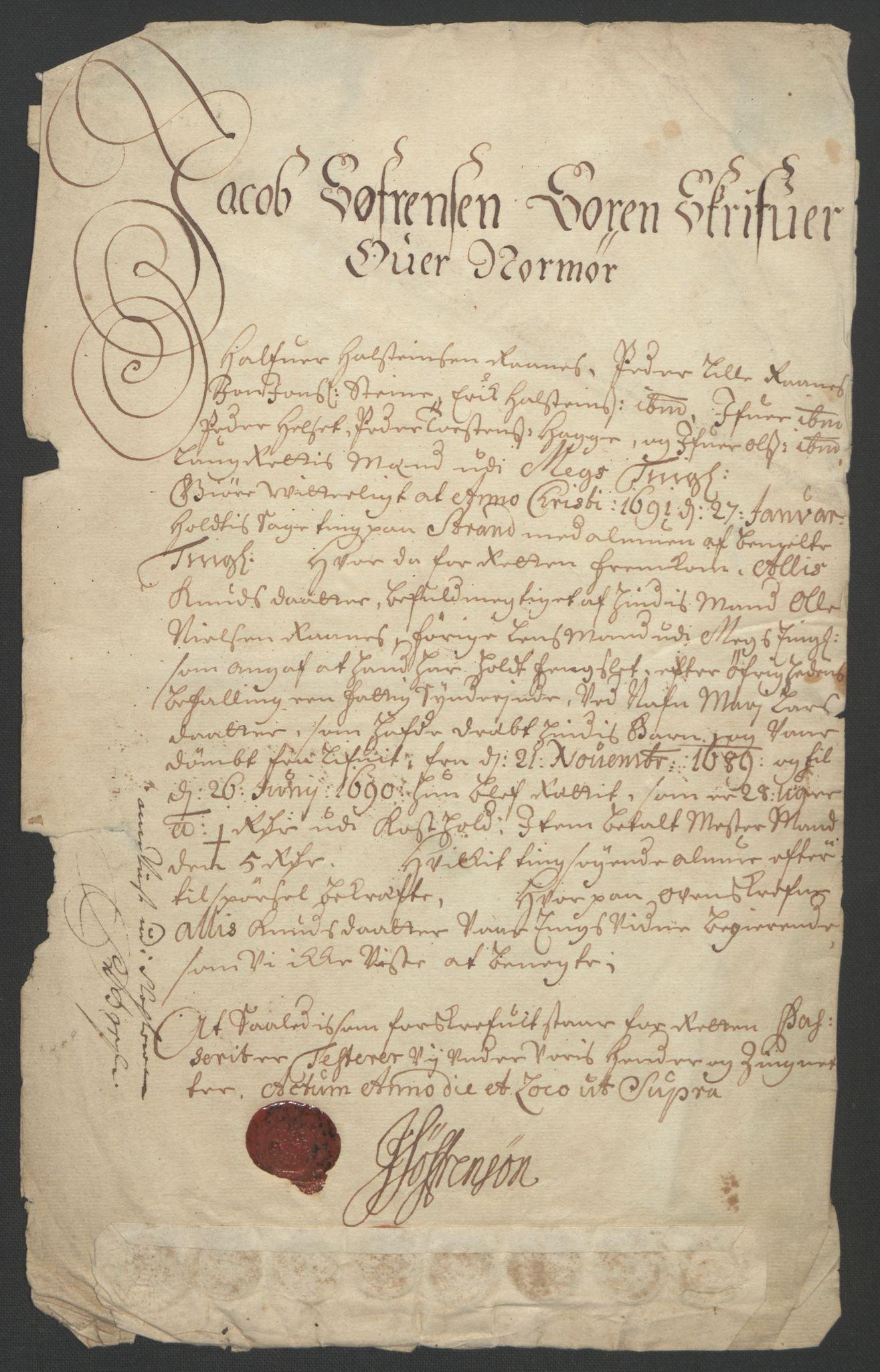 RA, Rentekammeret inntil 1814, Reviderte regnskaper, Fogderegnskap, R56/L3734: Fogderegnskap Nordmøre, 1690-1691, s. 217