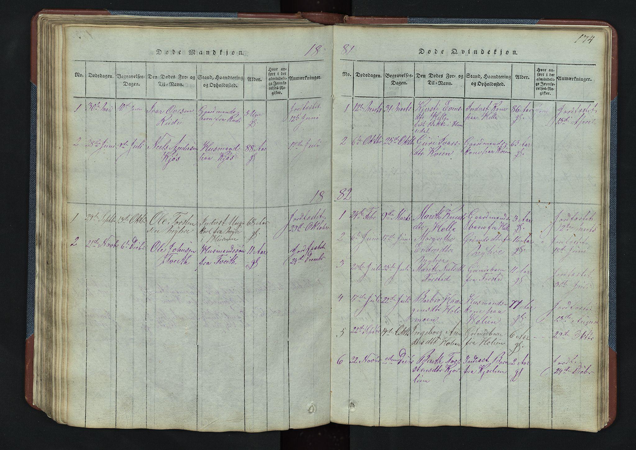 SAH, Vang prestekontor, Valdres, Klokkerbok nr. 3, 1814-1892, s. 174
