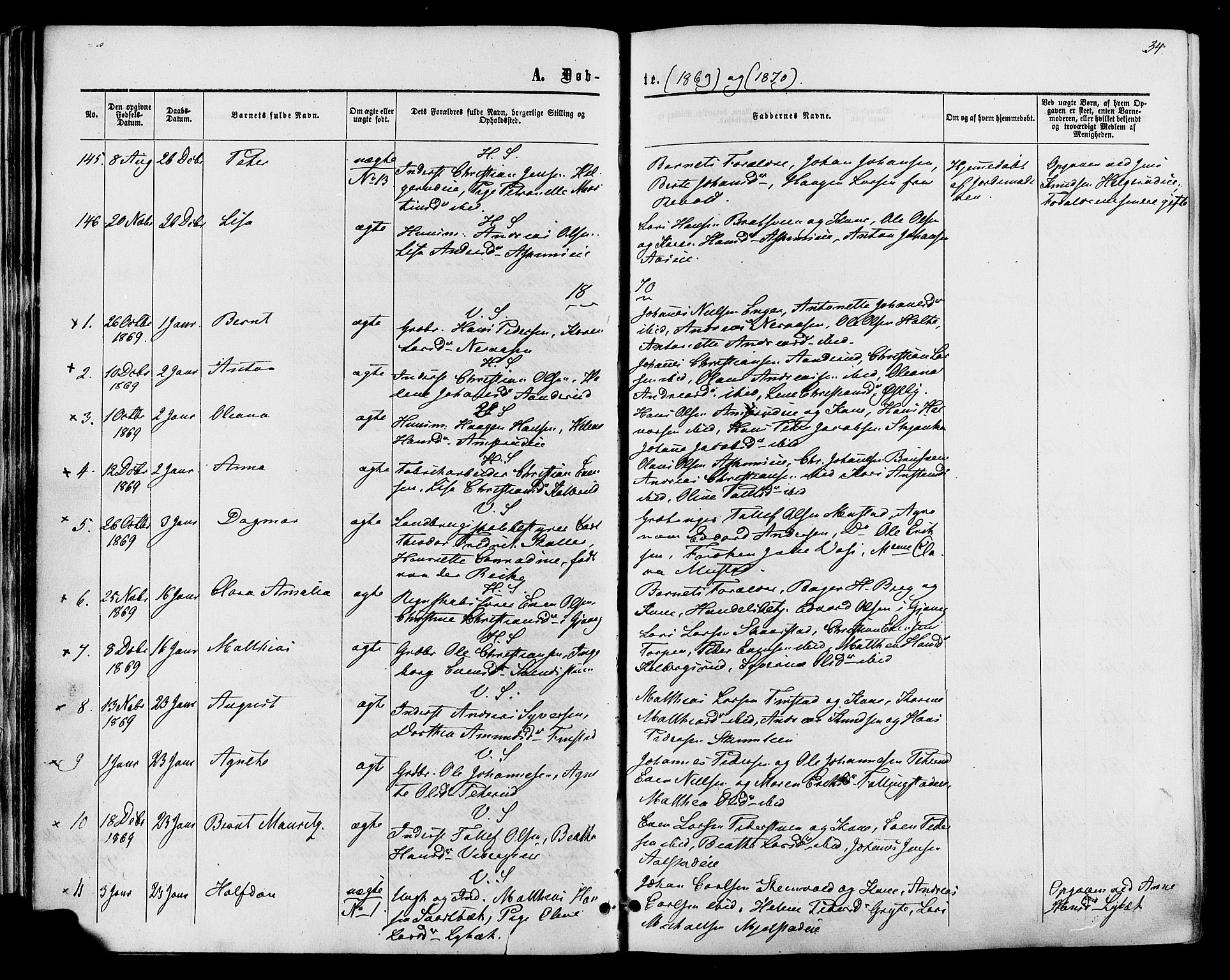 SAH, Vardal prestekontor, H/Ha/Haa/L0007: Ministerialbok nr. 7, 1867-1878, s. 34