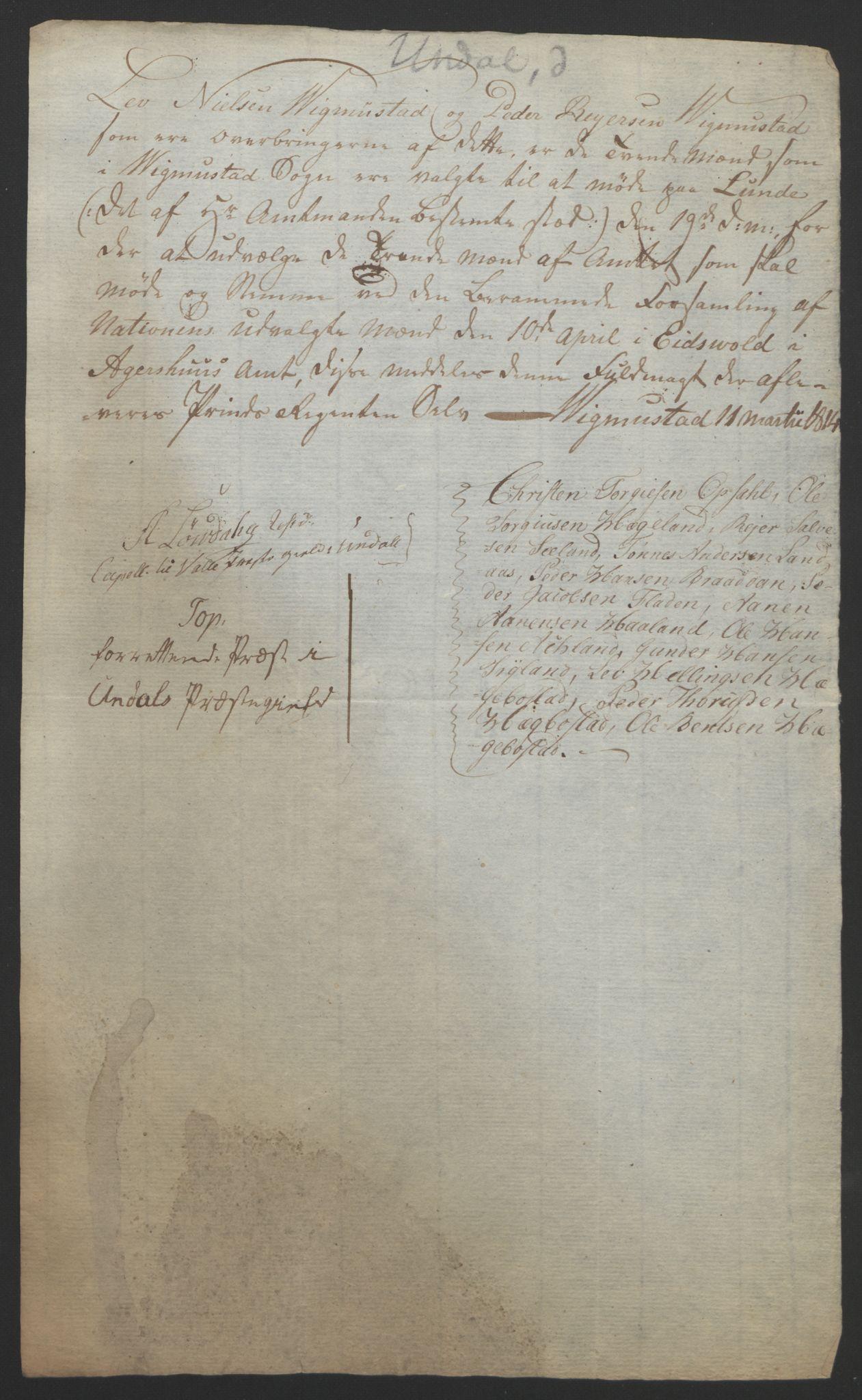 RA, Statsrådssekretariatet, D/Db/L0008: Fullmakter for Eidsvollsrepresentantene i 1814. , 1814, s. 141