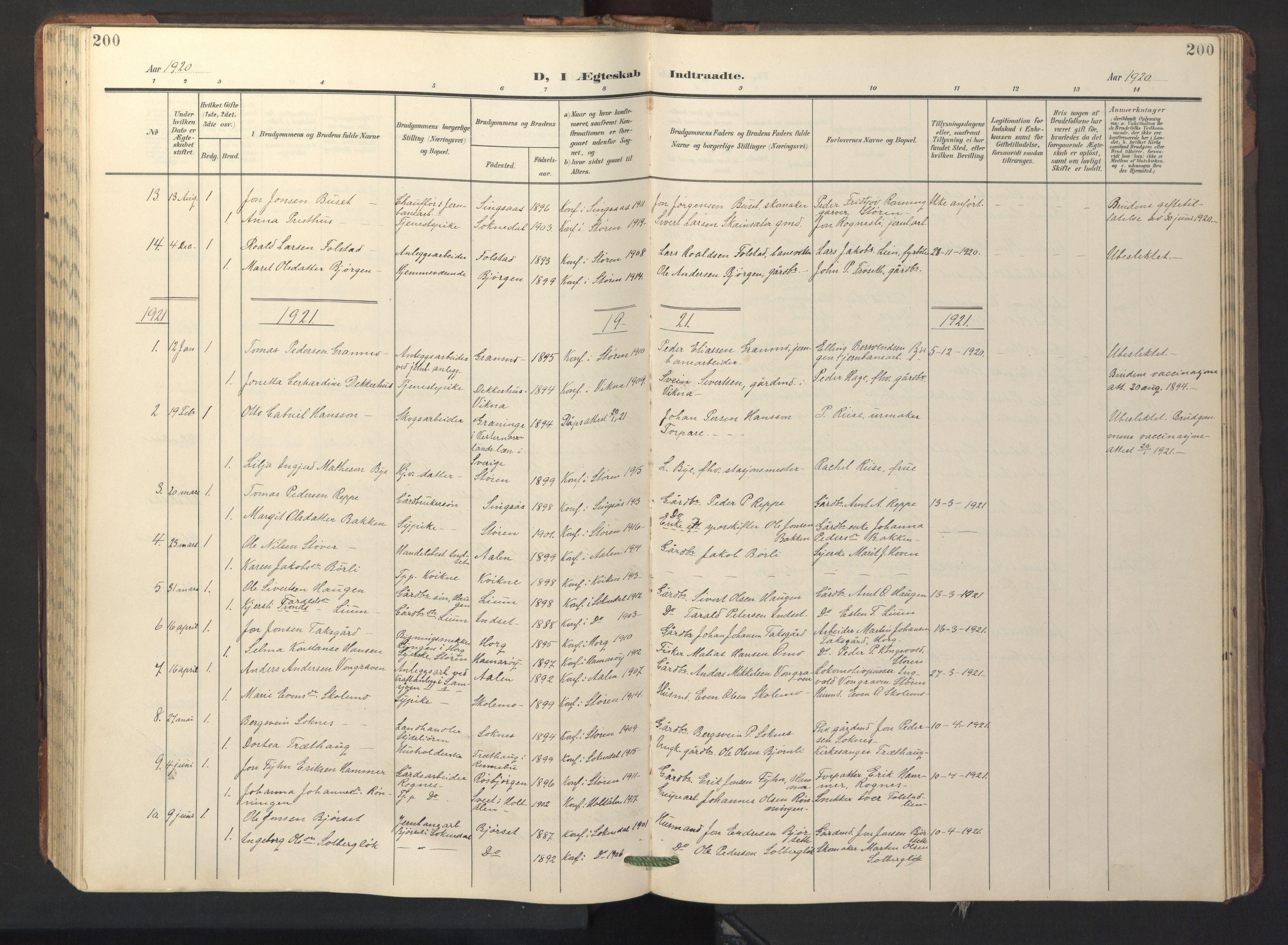 SAT, Ministerialprotokoller, klokkerbøker og fødselsregistre - Sør-Trøndelag, 687/L1019: Klokkerbok nr. 687C03, 1904-1931, s. 200