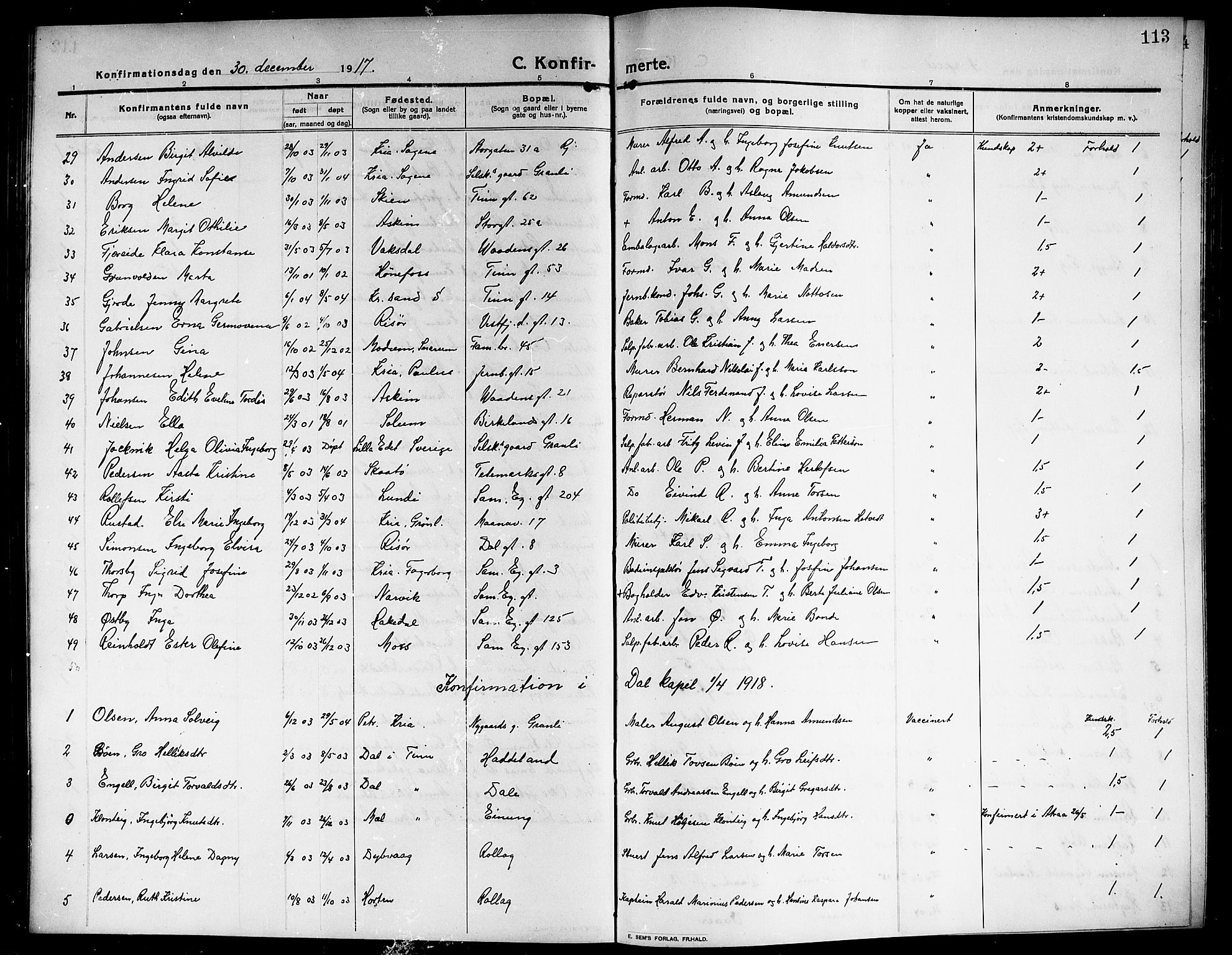 SAKO, Rjukan kirkebøker, G/Ga/L0002: Klokkerbok nr. 2, 1913-1920, s. 113