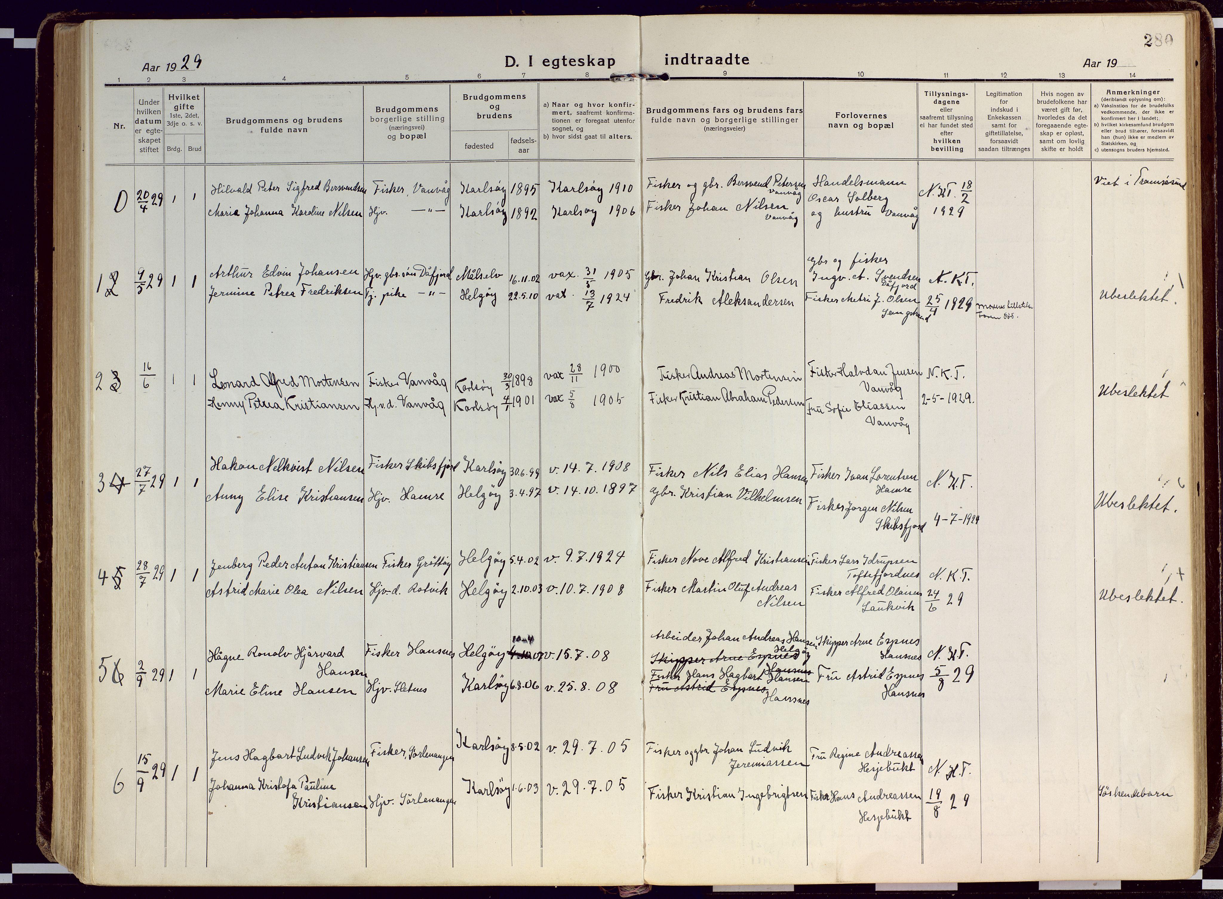 SATØ, Karlsøy sokneprestembete, Ministerialbok nr. 15, 1918-1929, s. 280