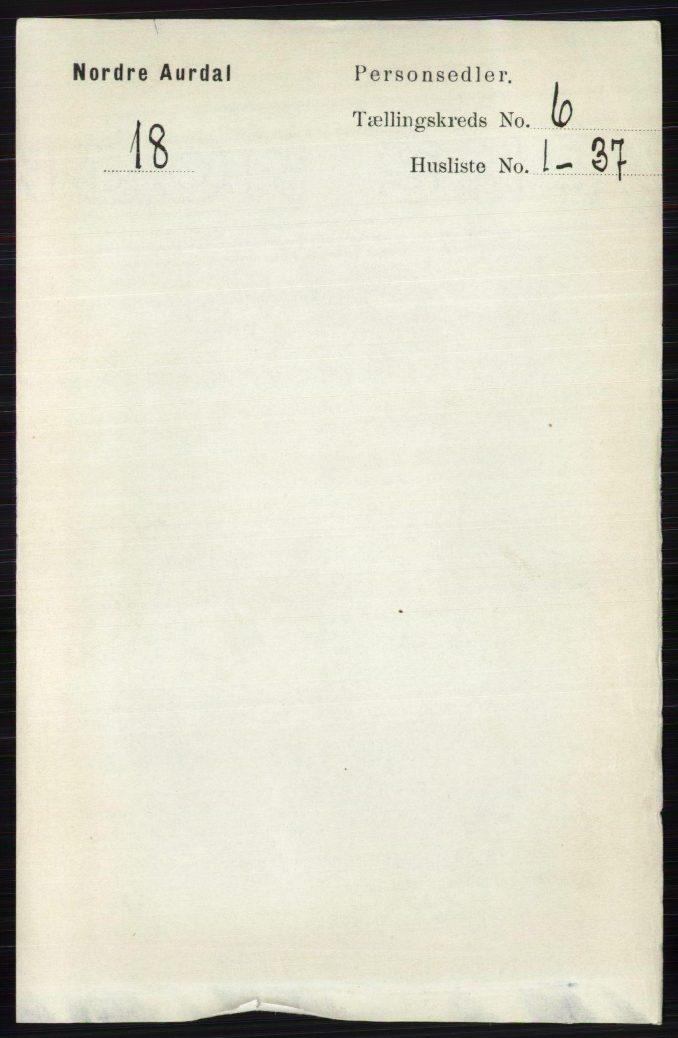 RA, Folketelling 1891 for 0542 Nord-Aurdal herred, 1891, s. 2085