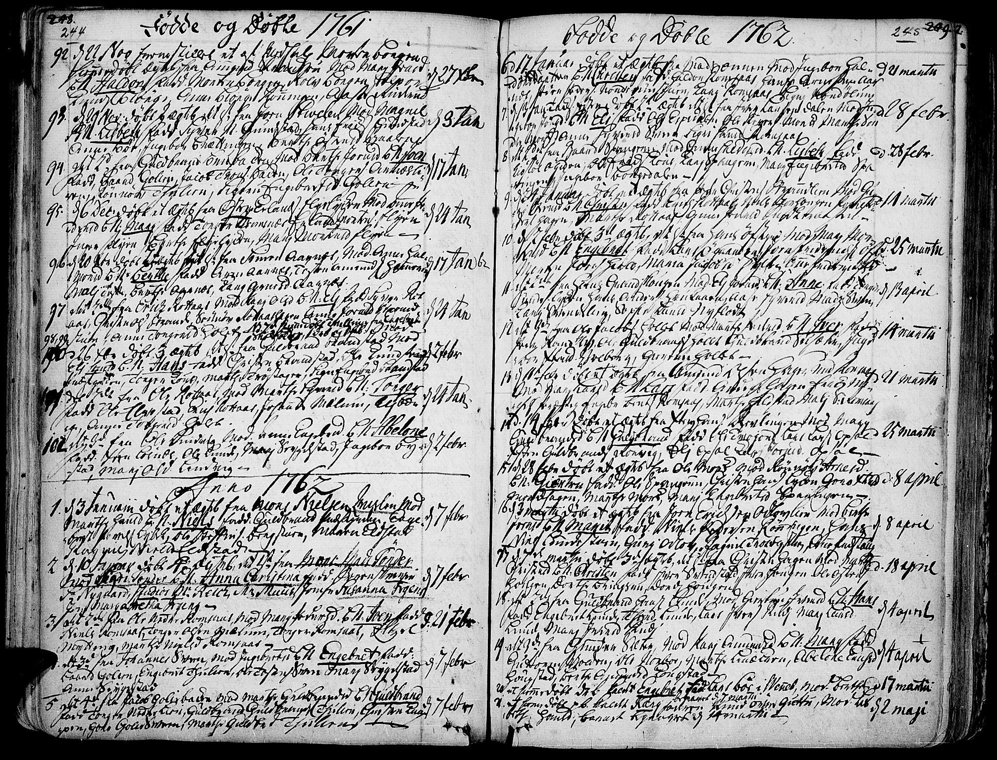 SAH, Ringebu prestekontor, Ministerialbok nr. 2, 1734-1780, s. 244-245