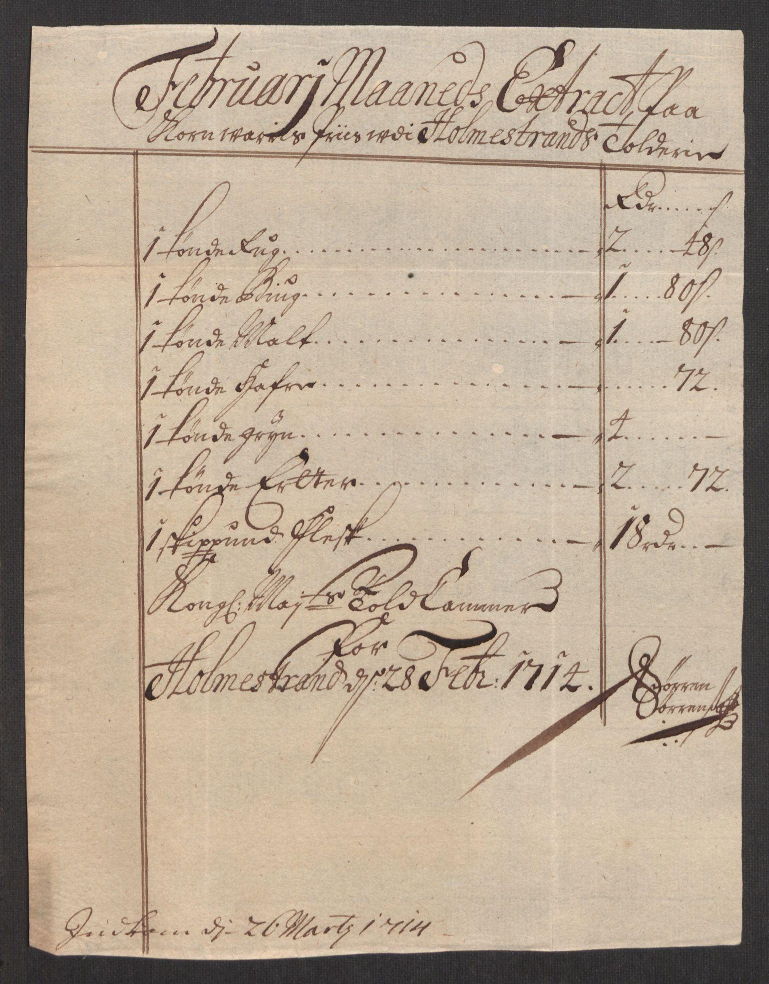 RA, Rentekammeret inntil 1814, Realistisk ordnet avdeling, Oe/L0001: [Ø1]: Priskuranter, 1712-1739, s. 47