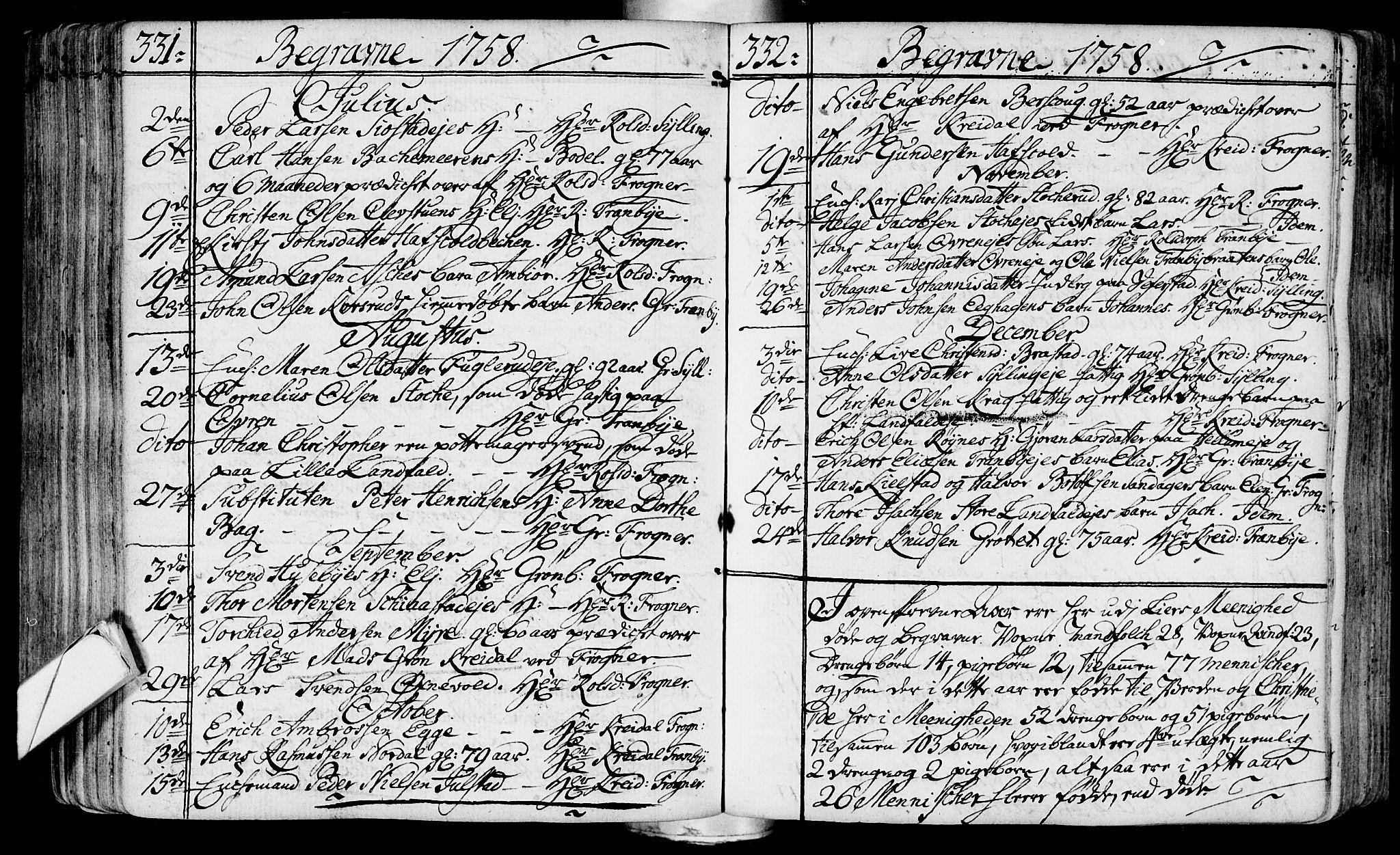 SAKO, Lier kirkebøker, F/Fa/L0004: Ministerialbok nr. I 4, 1749-1764, s. 331-332