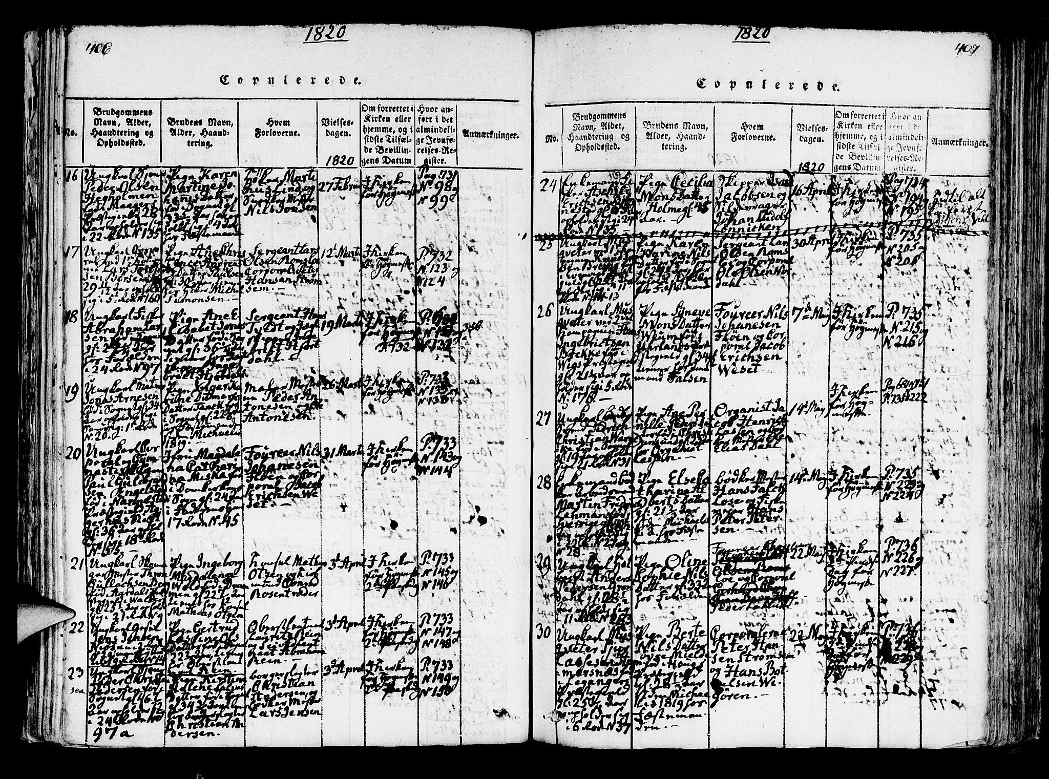 SAB, Korskirken Sokneprestembete, H/Hab: Klokkerbok nr. A 1b, 1815-1821, s. 406-407