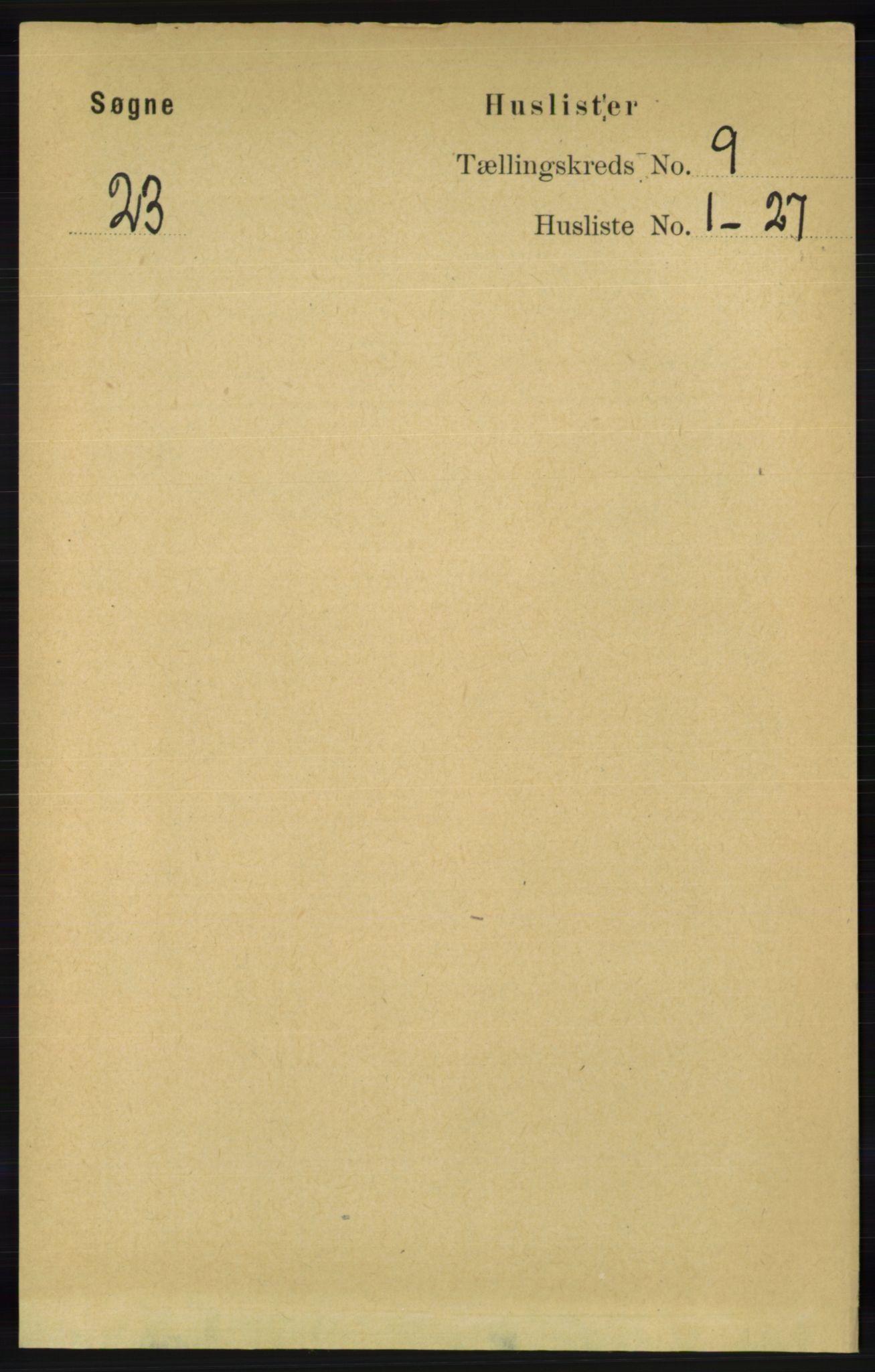 RA, Folketelling 1891 for 1018 Søgne herred, 1891, s. 2492