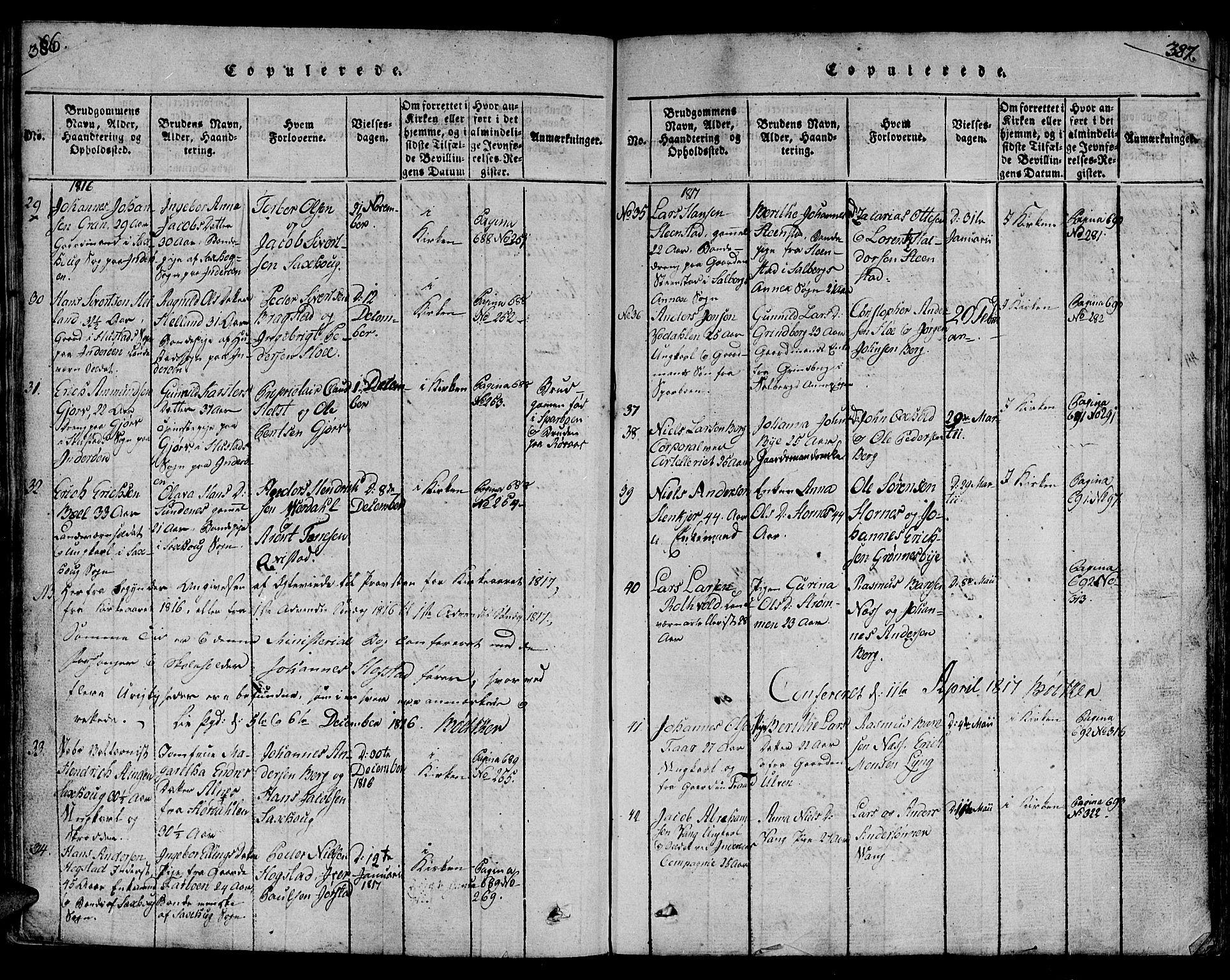 SAT, Ministerialprotokoller, klokkerbøker og fødselsregistre - Nord-Trøndelag, 730/L0275: Ministerialbok nr. 730A04, 1816-1822, s. 386-387