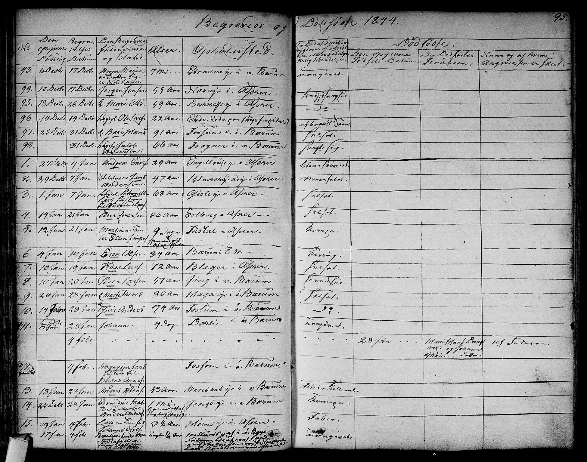 SAO, Asker prestekontor Kirkebøker, F/Fa/L0011: Ministerialbok nr. I 11, 1825-1878, s. 95