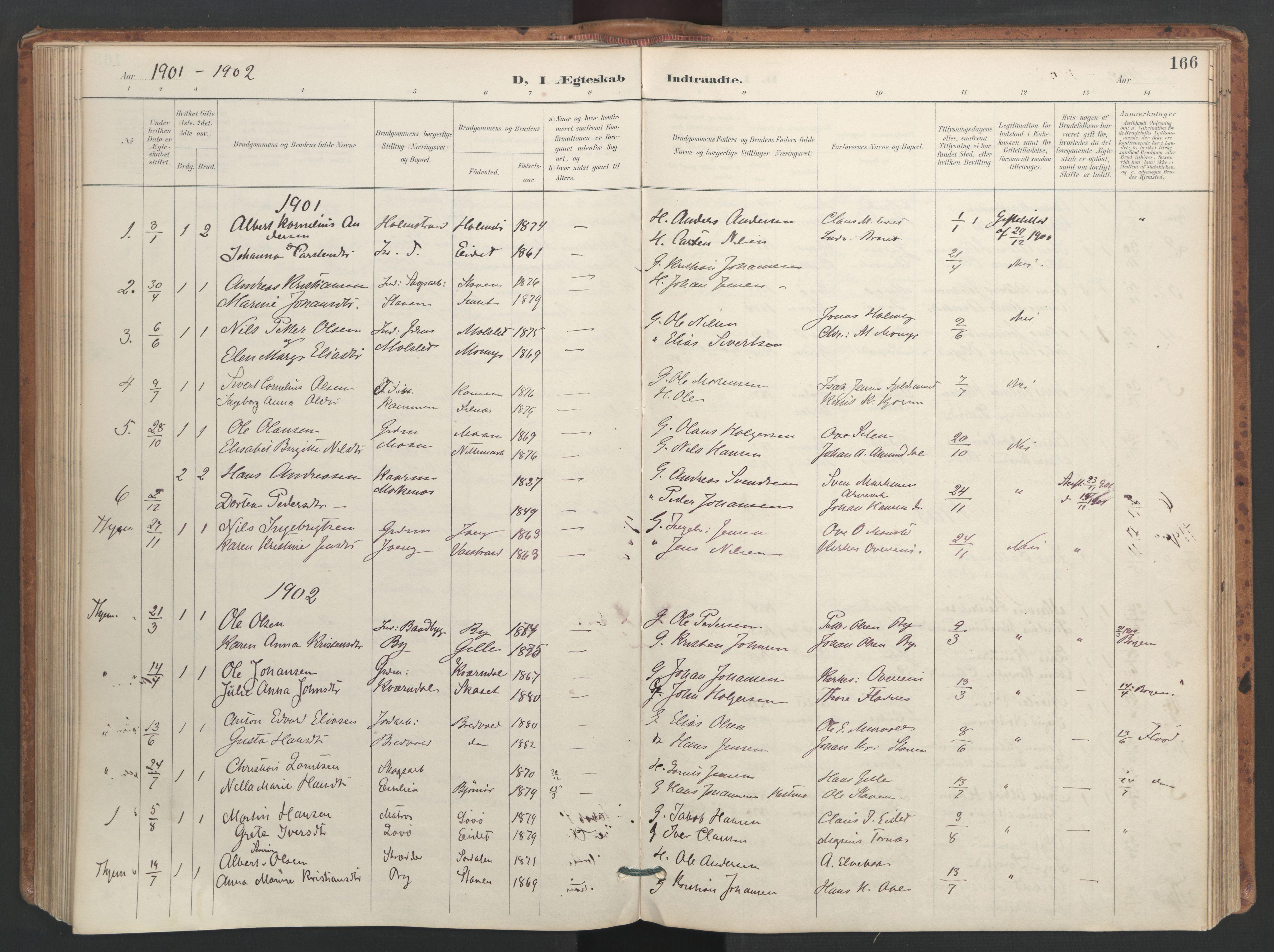 SAT, Ministerialprotokoller, klokkerbøker og fødselsregistre - Sør-Trøndelag, 655/L0681: Ministerialbok nr. 655A10, 1895-1907, s. 166