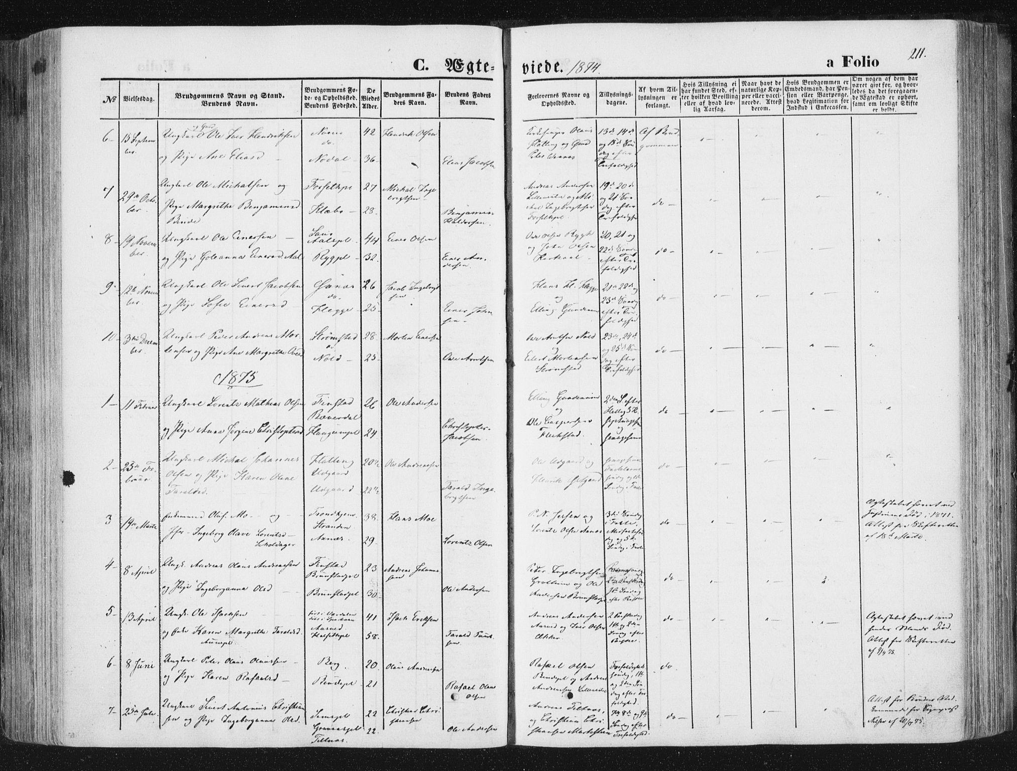 SAT, Ministerialprotokoller, klokkerbøker og fødselsregistre - Nord-Trøndelag, 746/L0447: Ministerialbok nr. 746A06, 1860-1877, s. 211