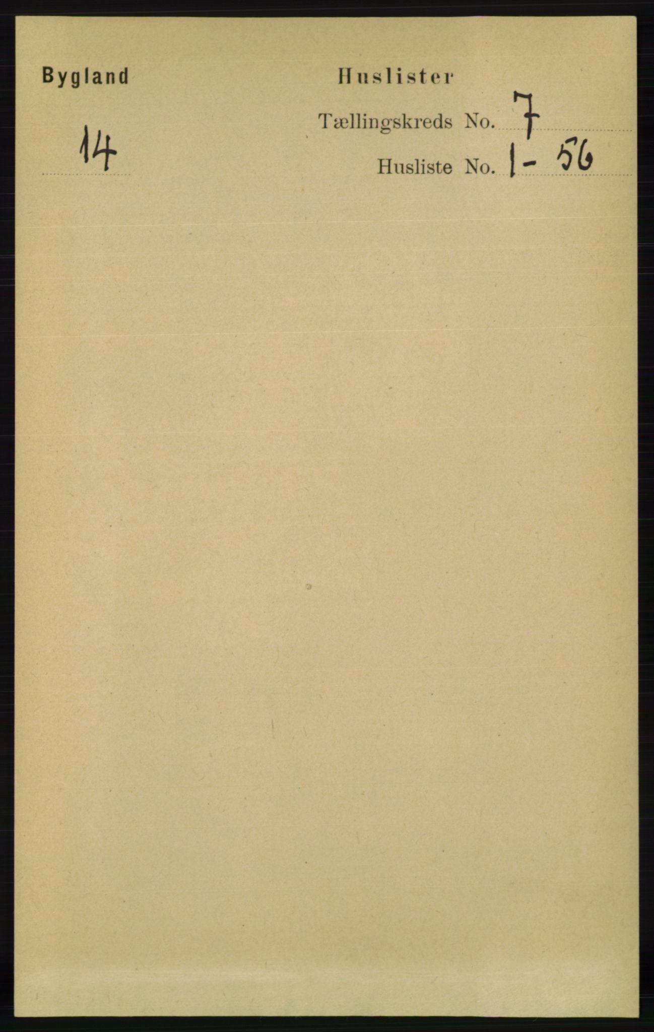 RA, Folketelling 1891 for 0938 Bygland herred, 1891, s. 1499